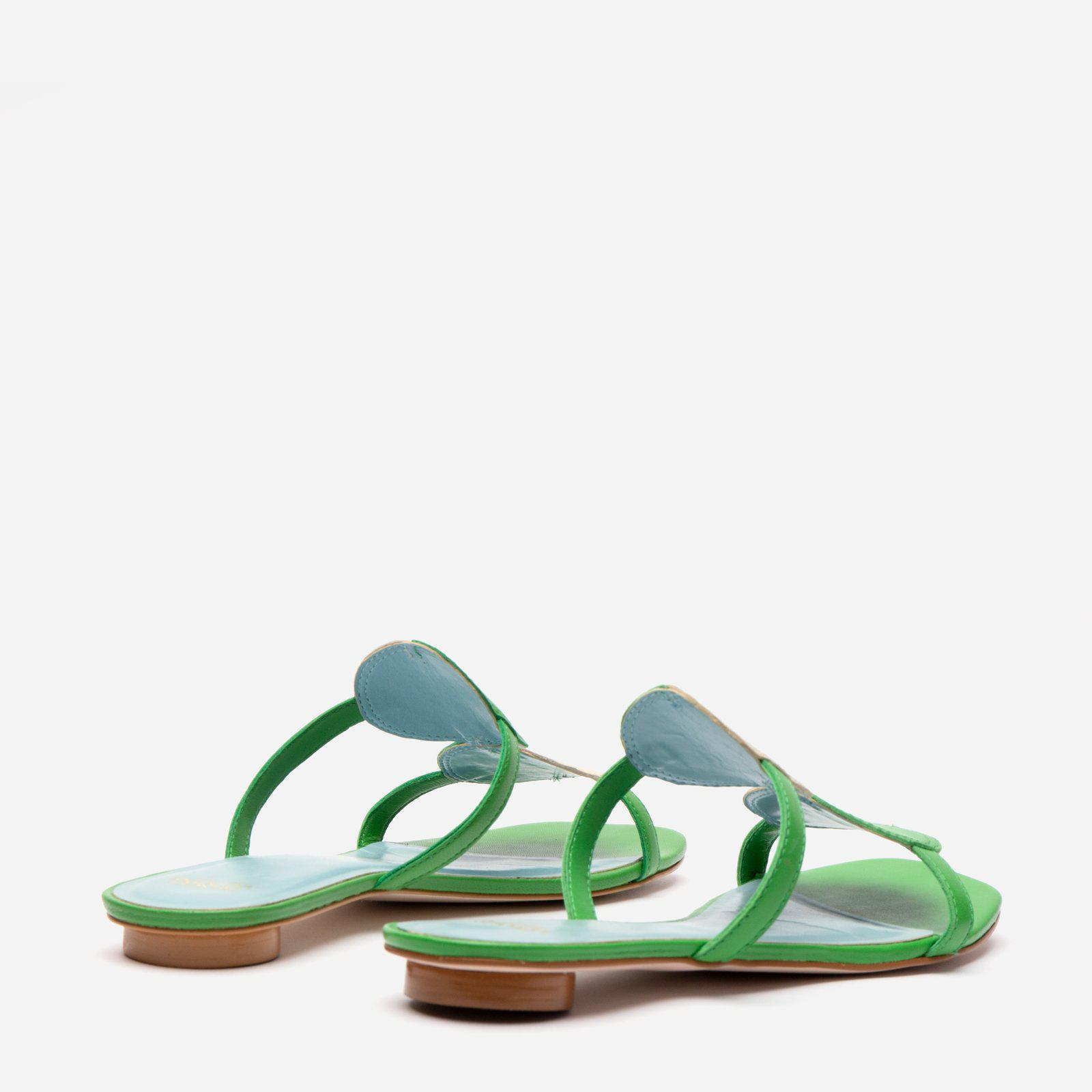 Double Circle Slide Colorblock Green Oyster 3