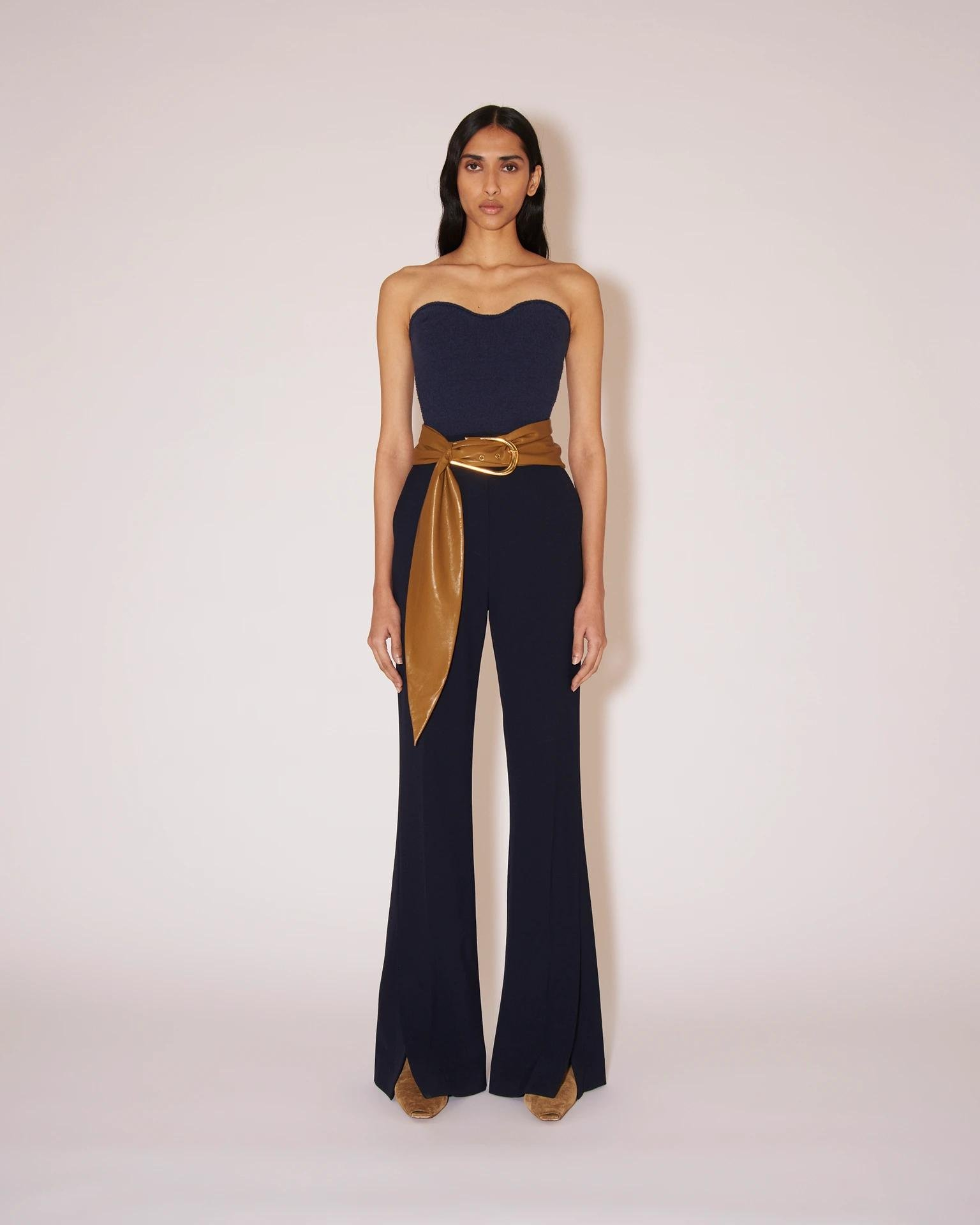 TULIP - Eco cady suiting wide-leg pants - Navy