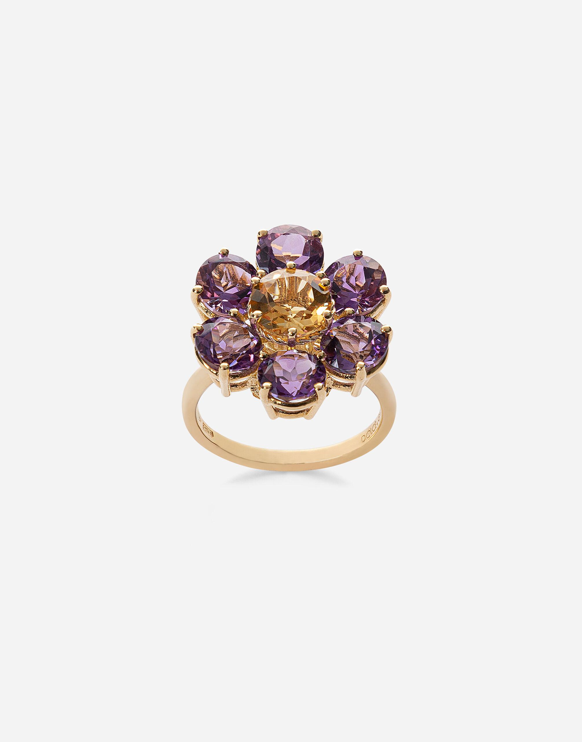 Spring ring in yellow 18kt gold with amethyst floral motif