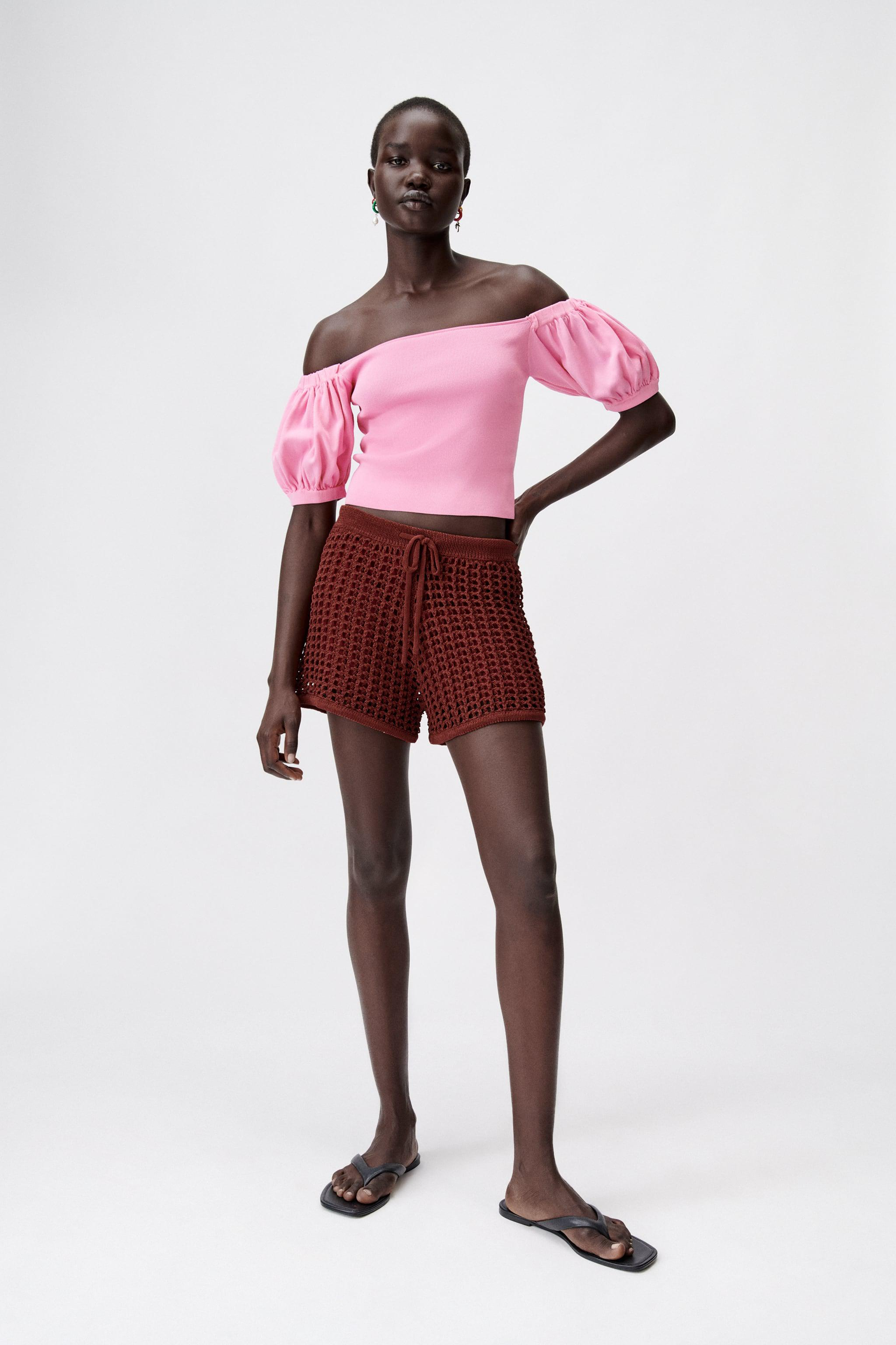 KNIT TOP WITH BALLOON SLEEVES