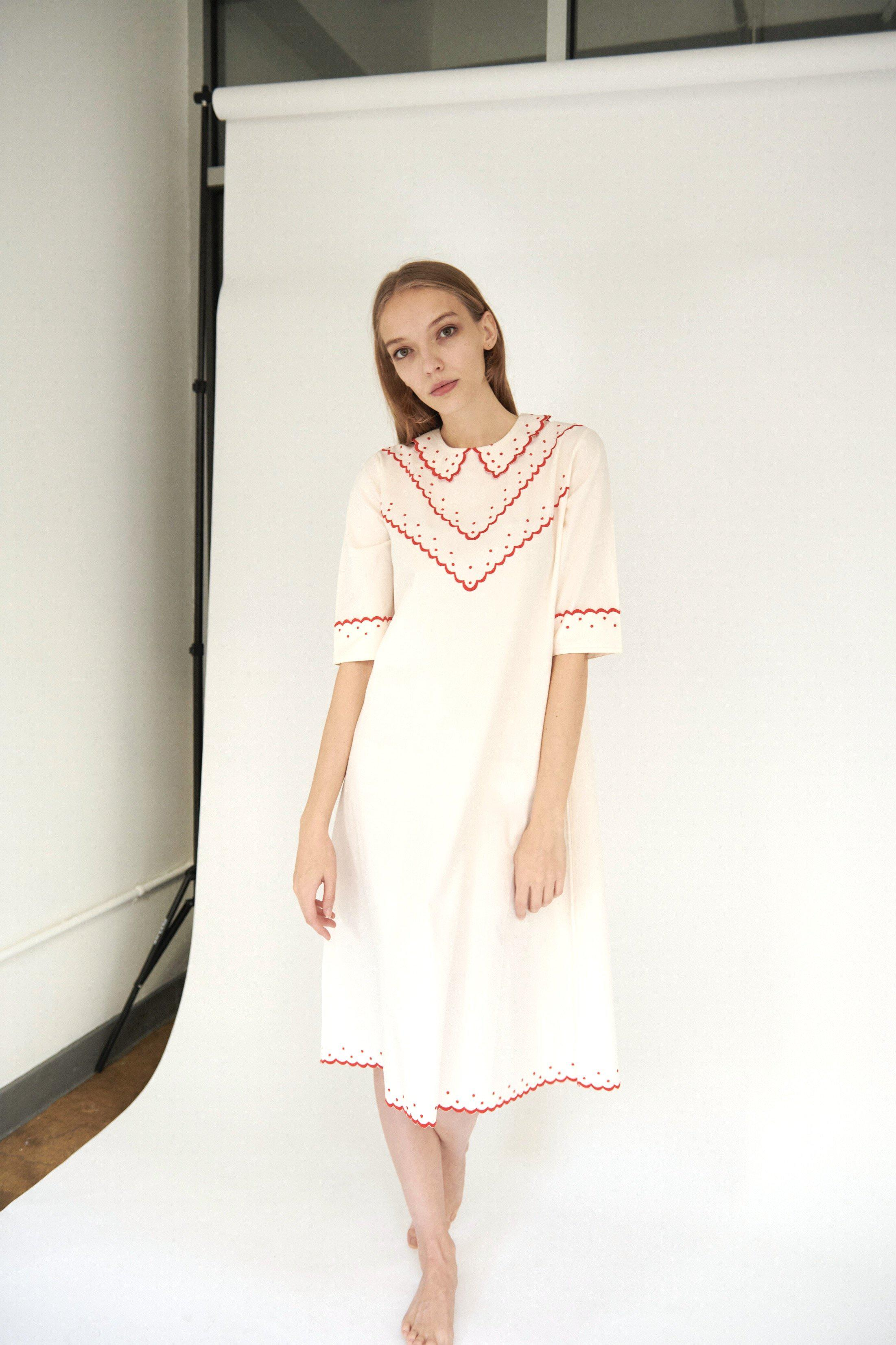 Shirley Dress in Cream with Red Embroidery 2