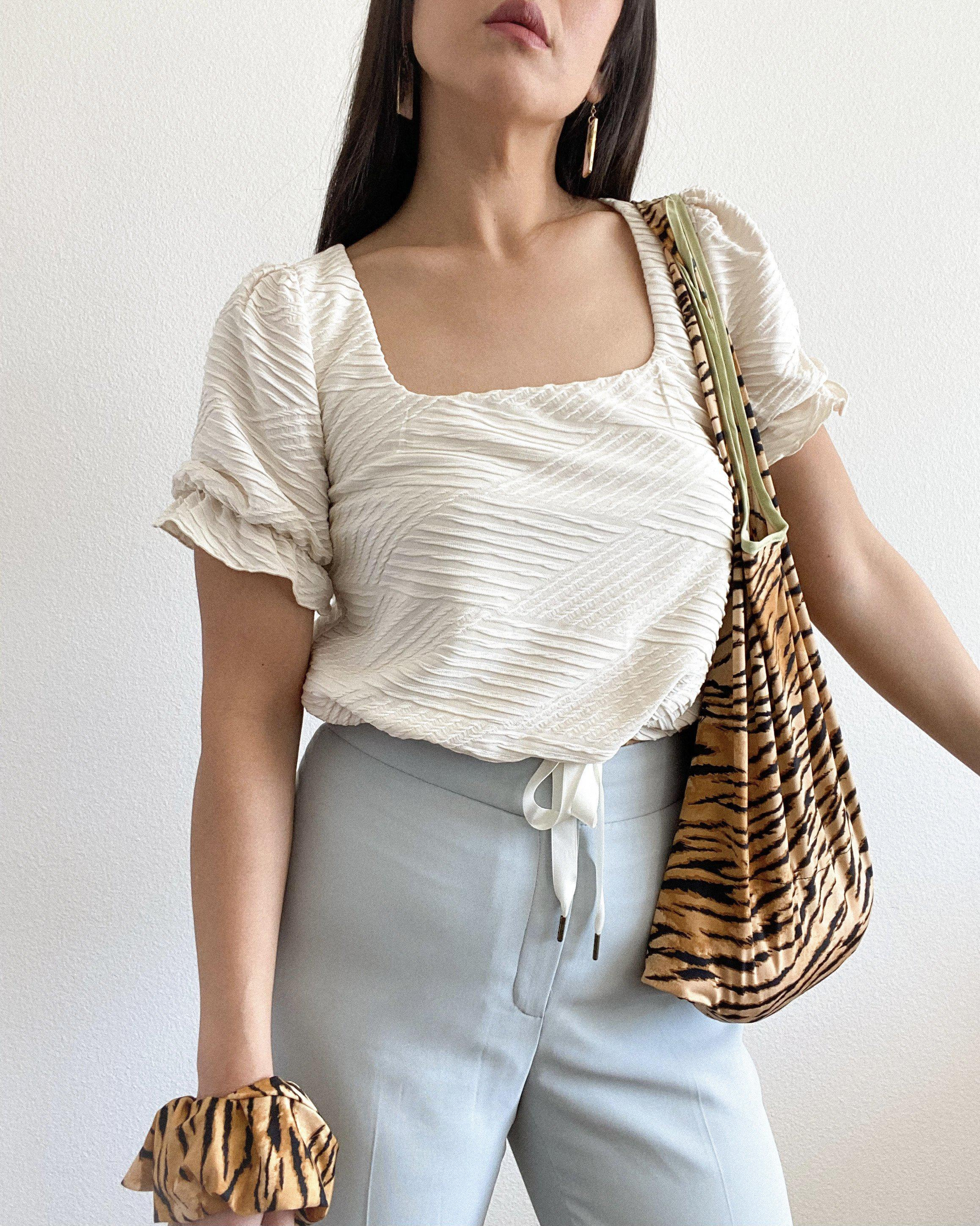 THE SQUARE NECK CINCHED TOP ~ IVORY (FINAL SALE)
