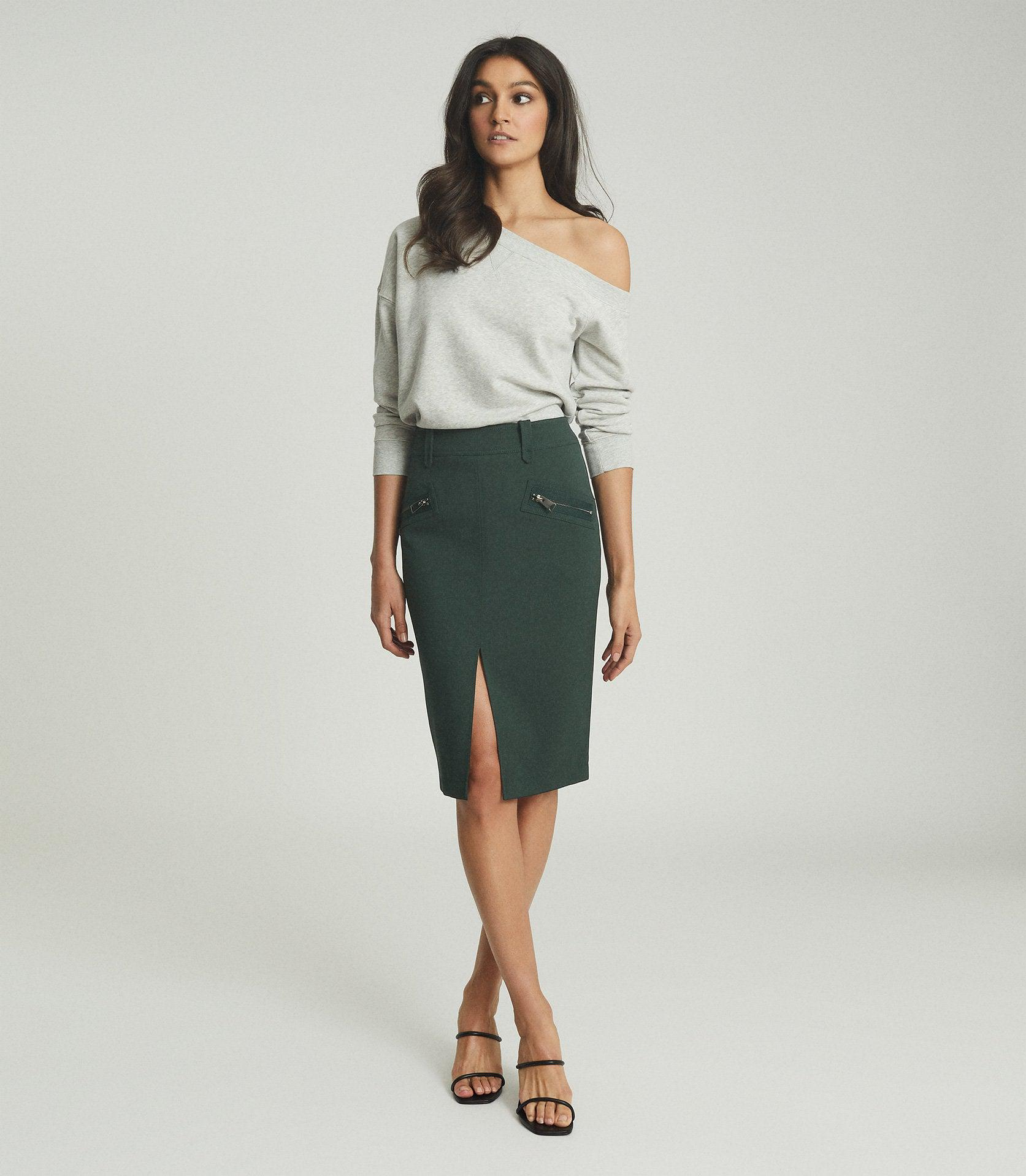 KASSIDY - PENCIL SKIRT WITH ZIP DETAIL