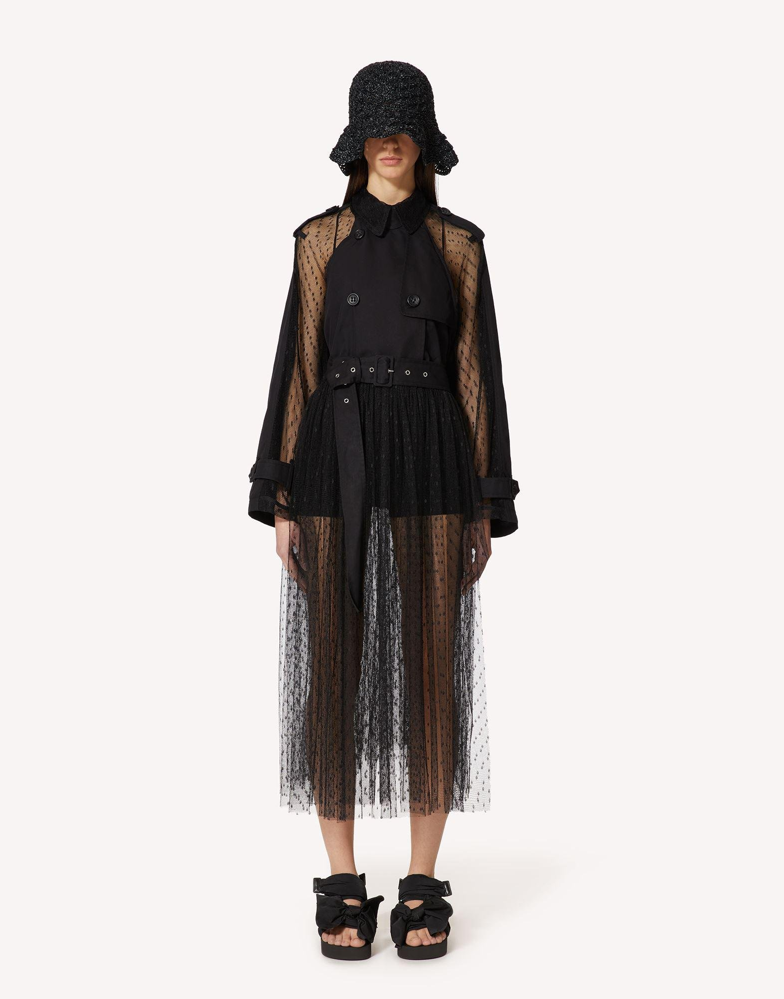 THE BLACK TAG. - GABARDINE AND POINT D'ESPRIT TULLE TRENCH COAT