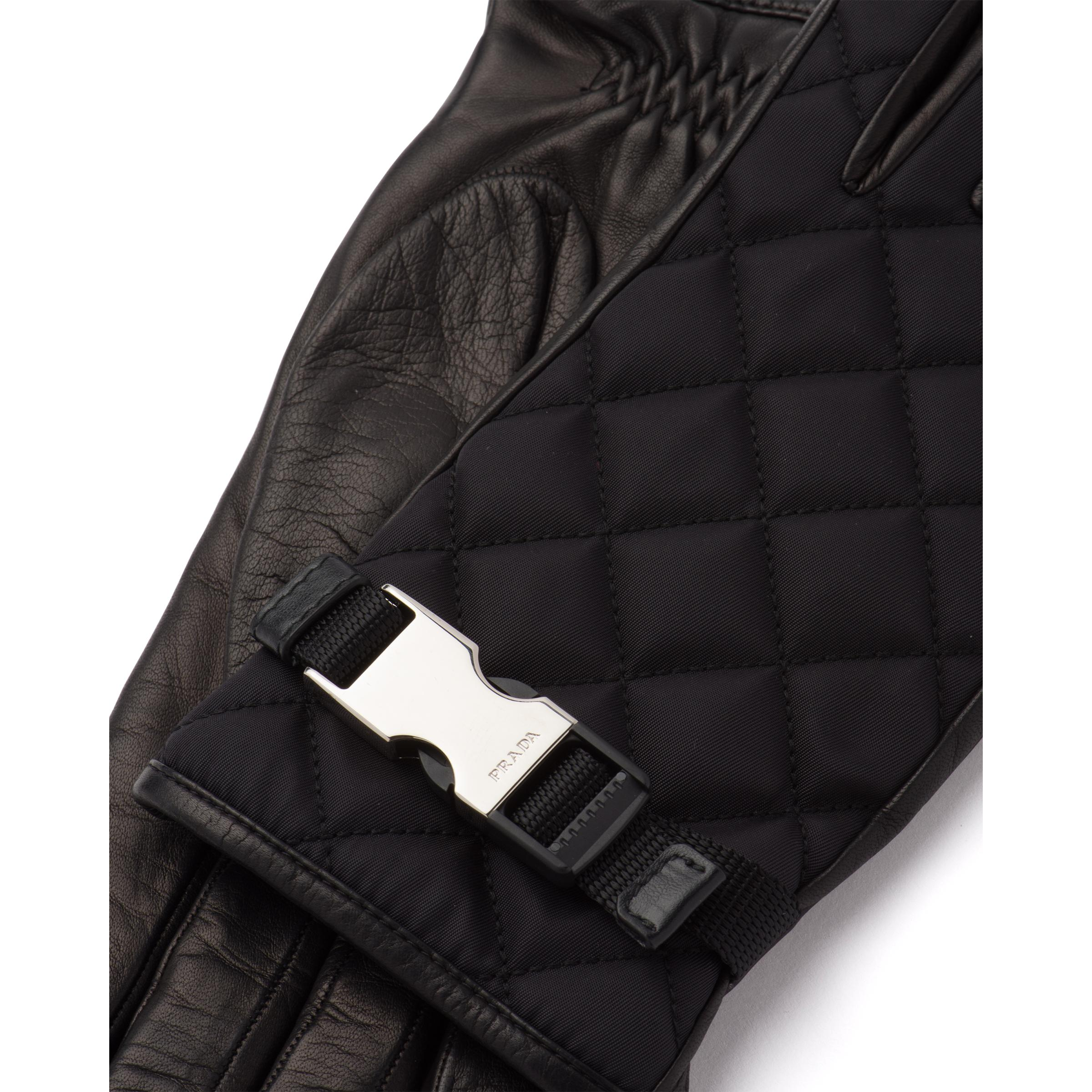 Quilted Nylon And Nappa Leather Gloves Women Black 2