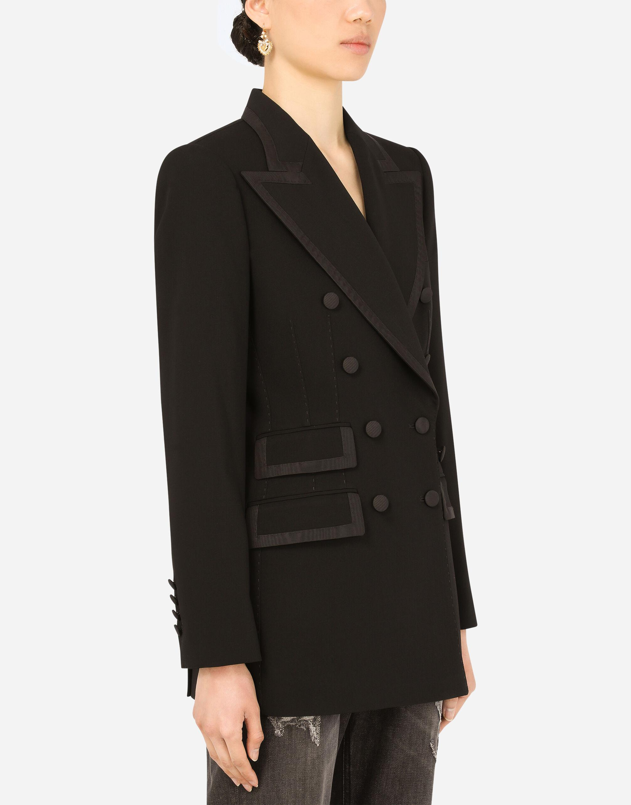 Wool double-breasted Turlington jacket with silk faille piping 2