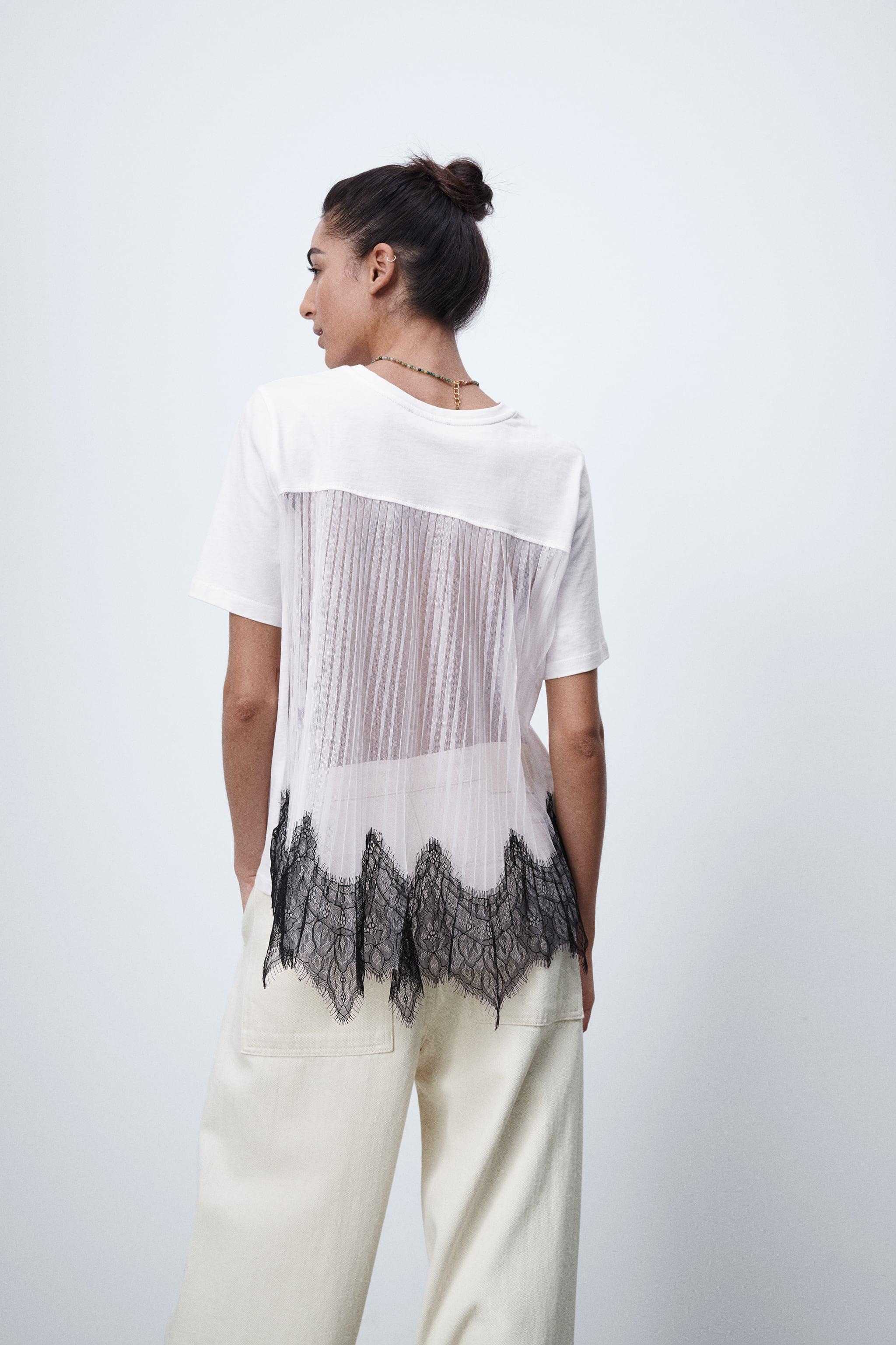 CONTRASTING LACE T-SHIRT 2