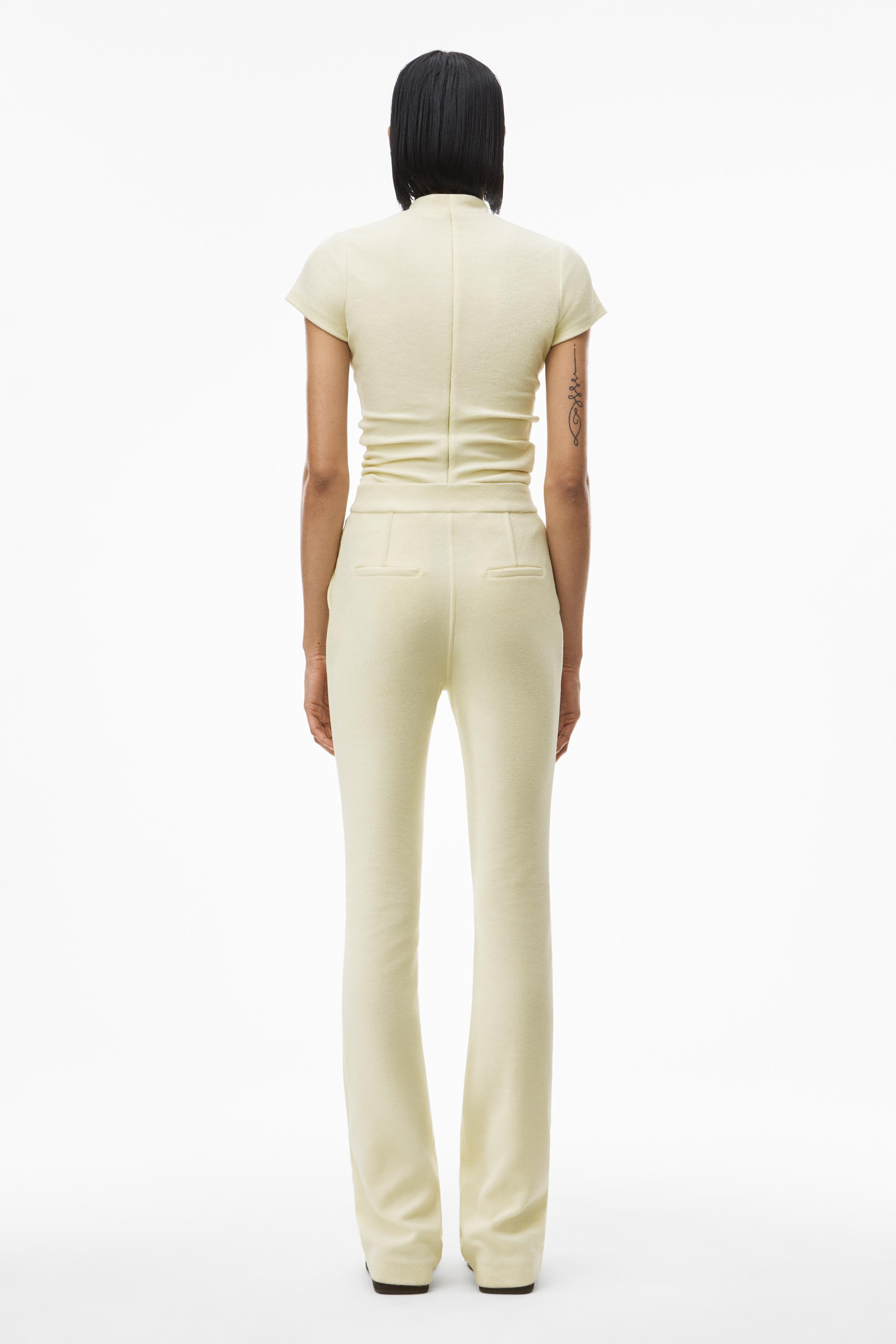mock neck top in ruched velour tailoring 3