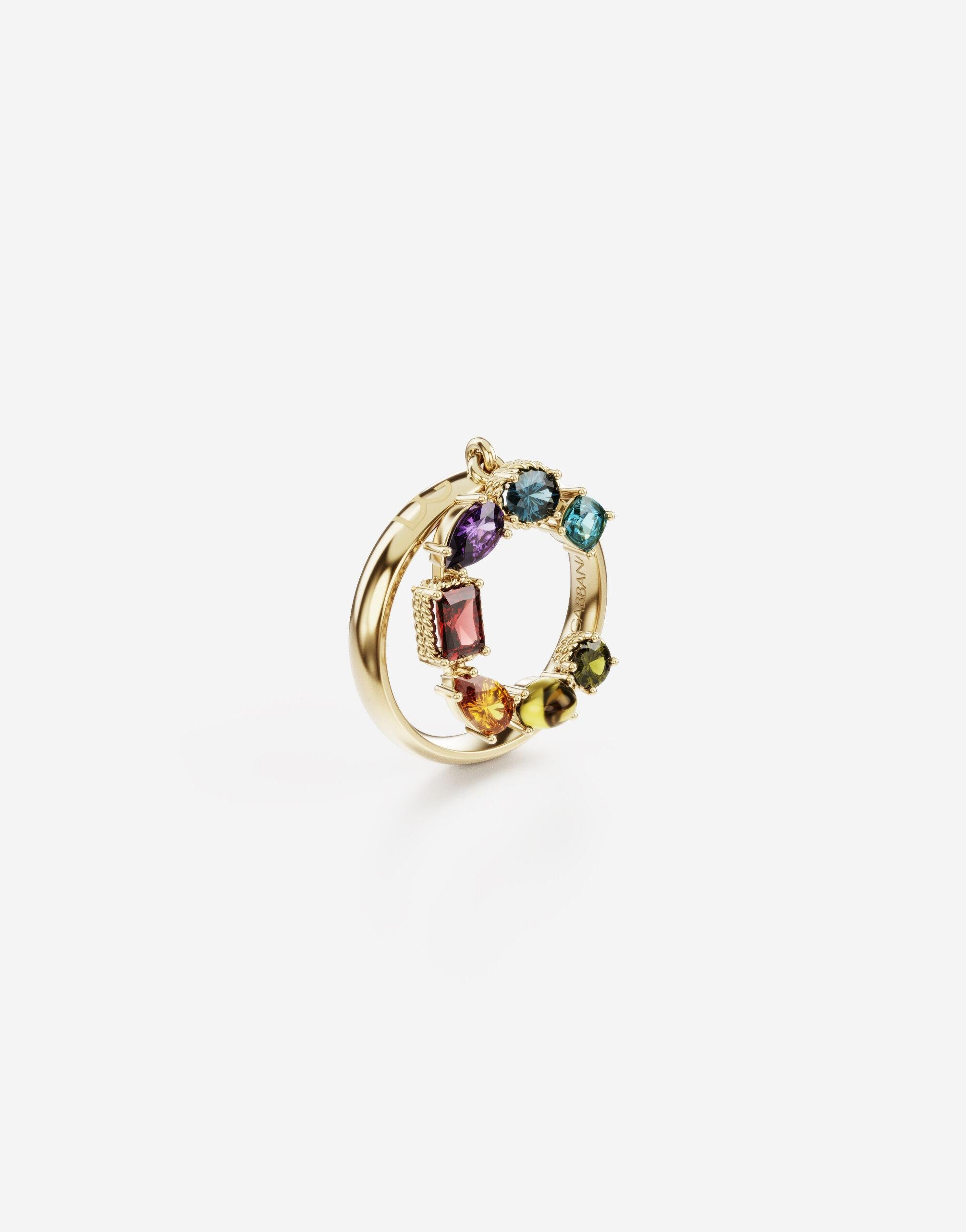 Rainbow alphabet C ring in yellow gold with multicolor fine gems 2