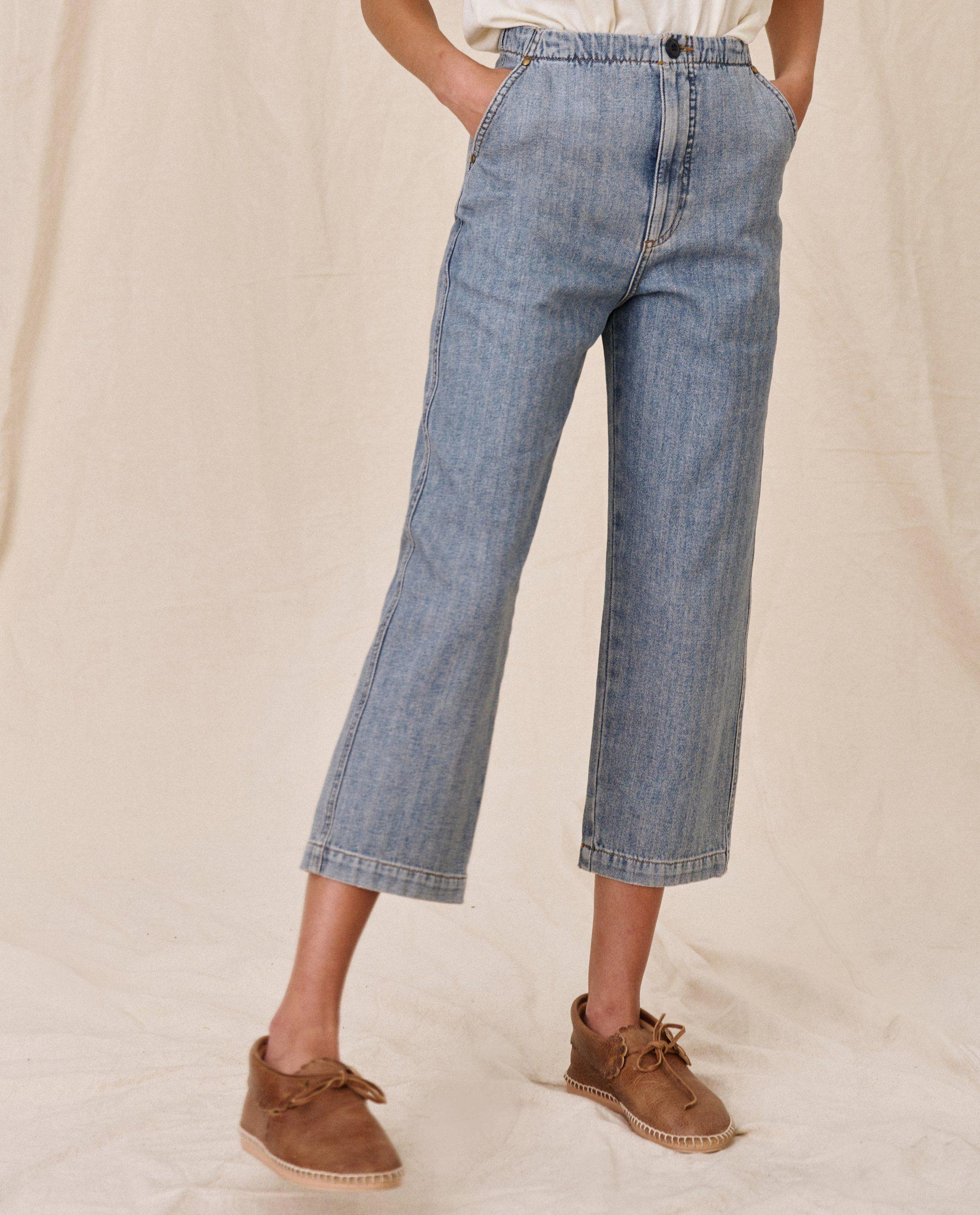 The Buckle Back Trouser. -- Sun Bleached Blue