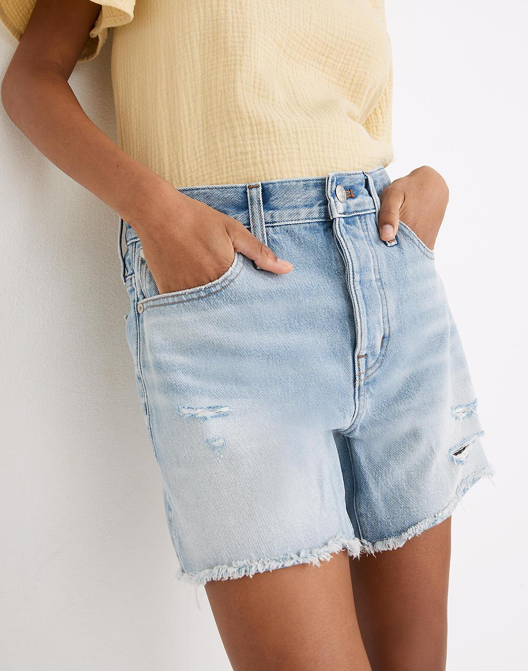 Relaxed Mid-Length Denim Shorts in Selton Wash: Ripped Edition 1