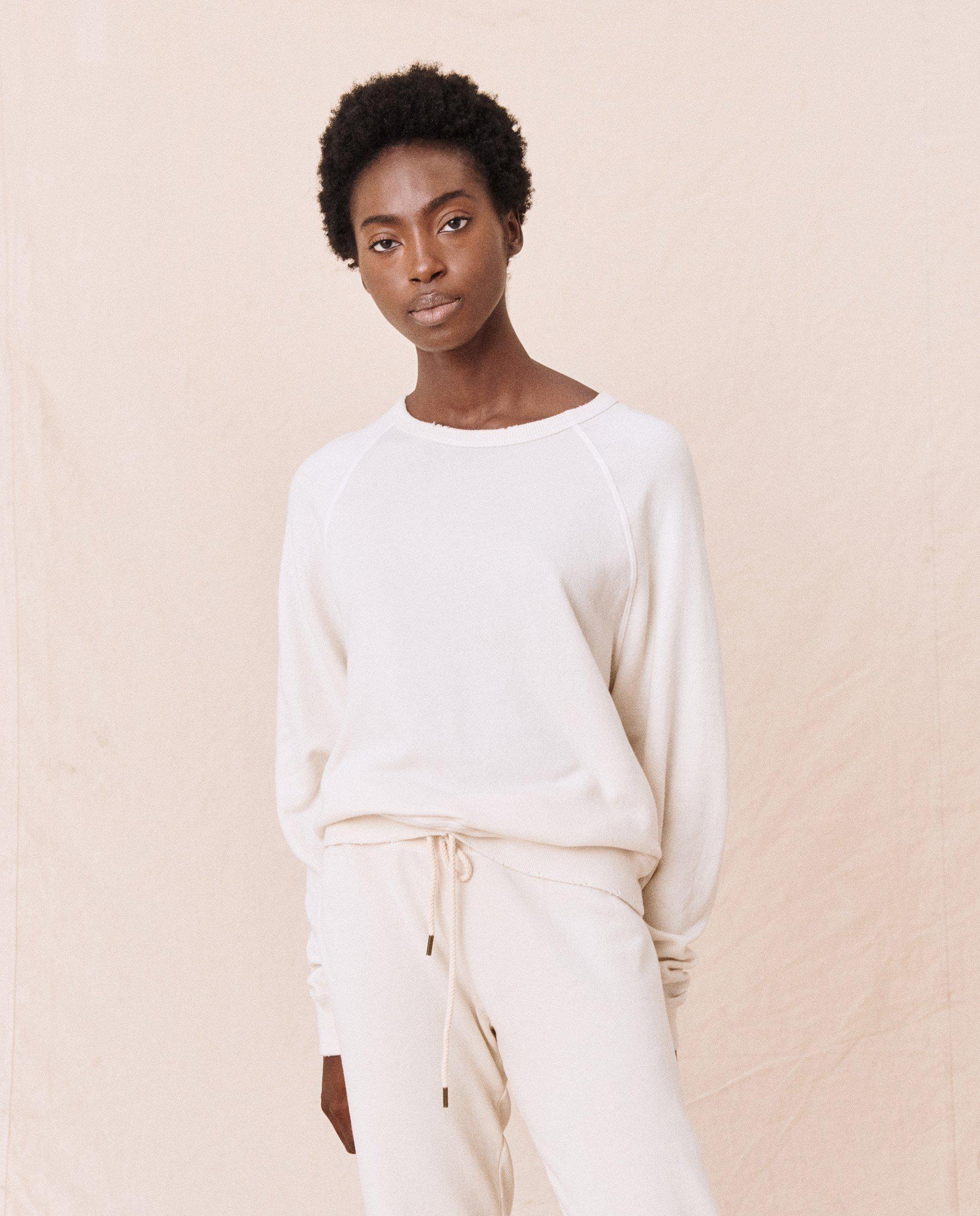 The College Sweatshirt. Solid -- Washed White