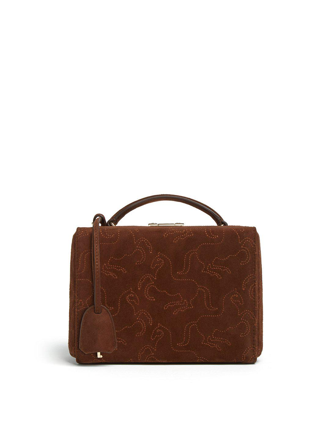 Grace Small Embroidered Suede Box Bag