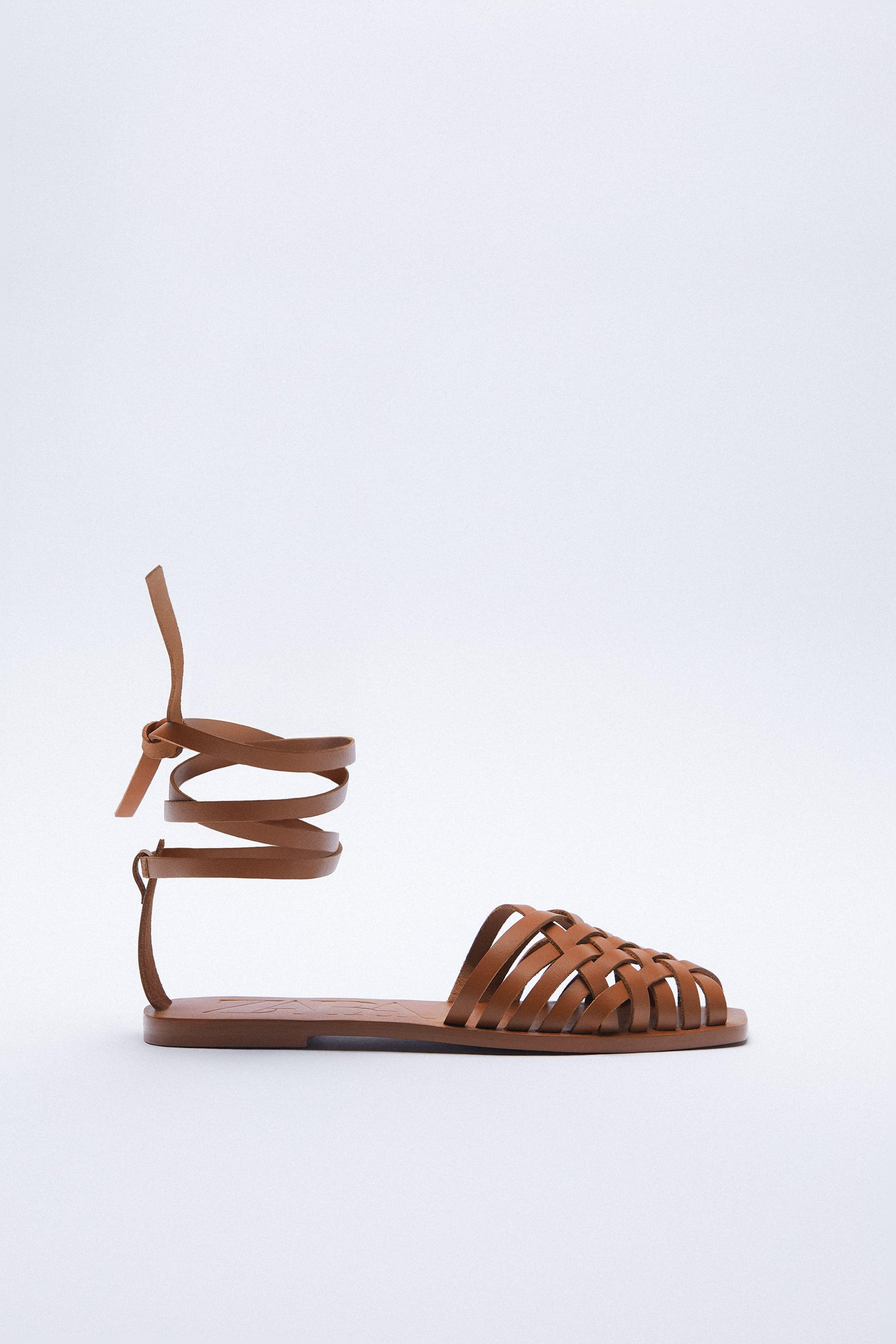 TIED FLAT LEATHER SANDALS 1