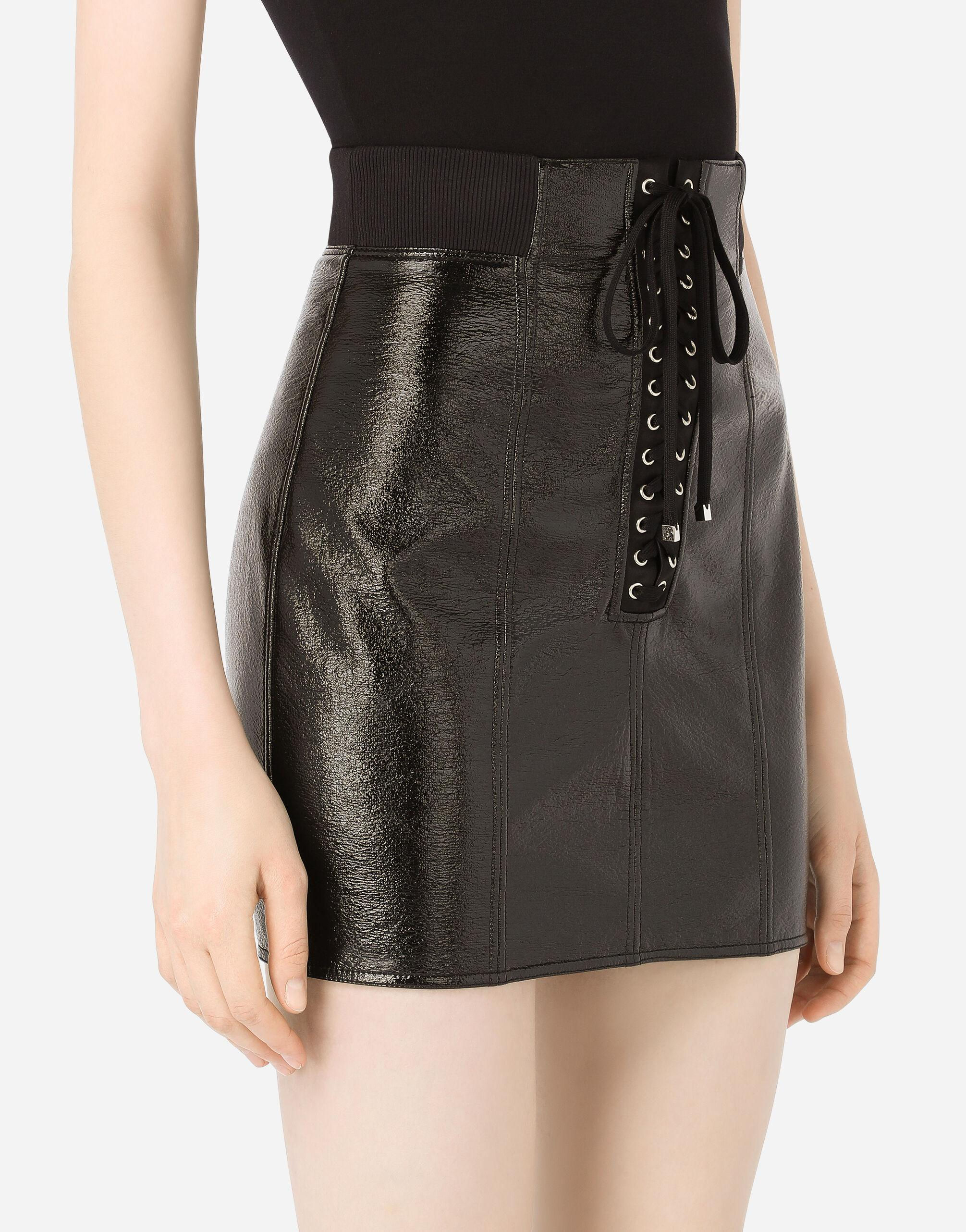 Coated cotton miniskirt with laces and eyelets 2