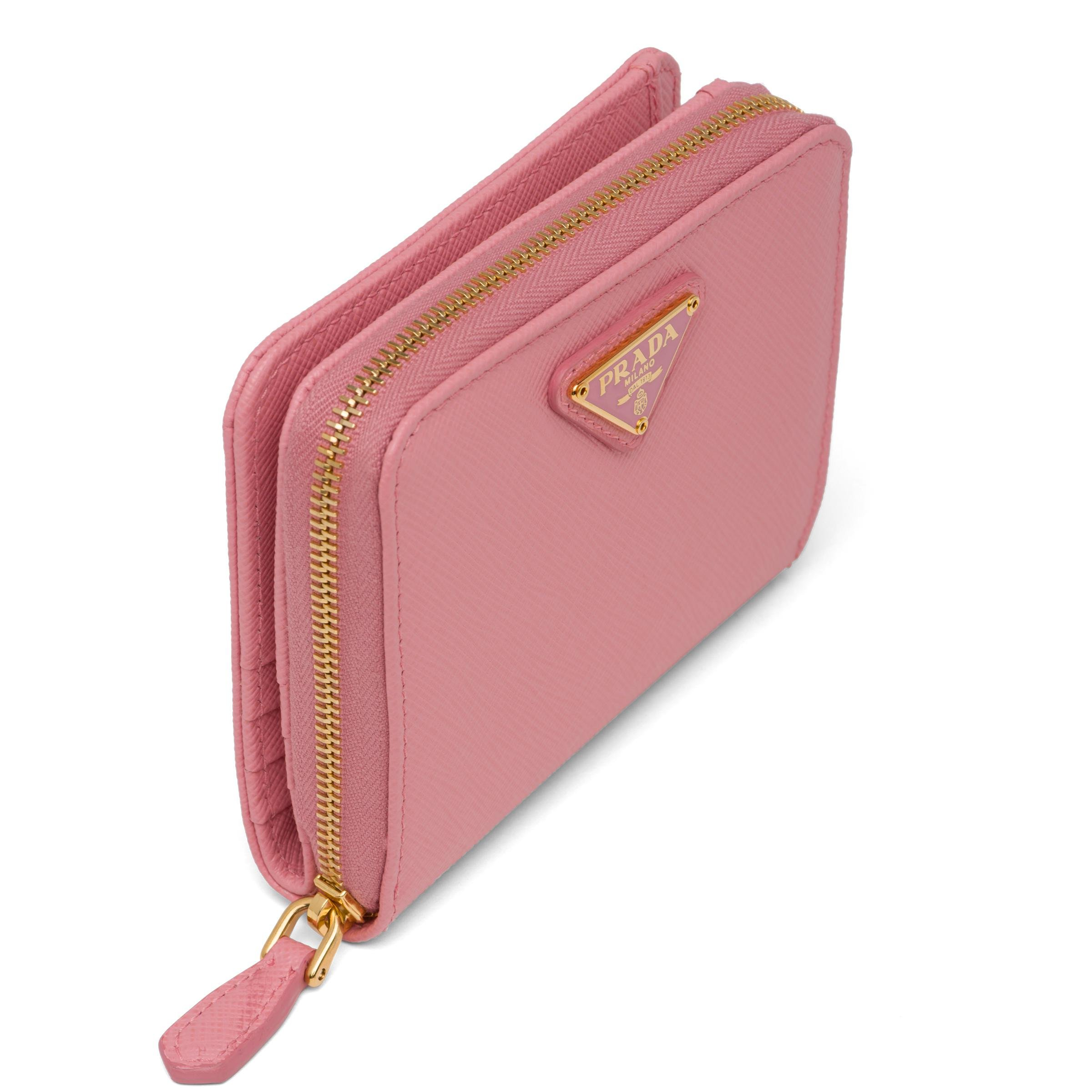 Small Saffiano Leather Wallet Women Petal Pink 5