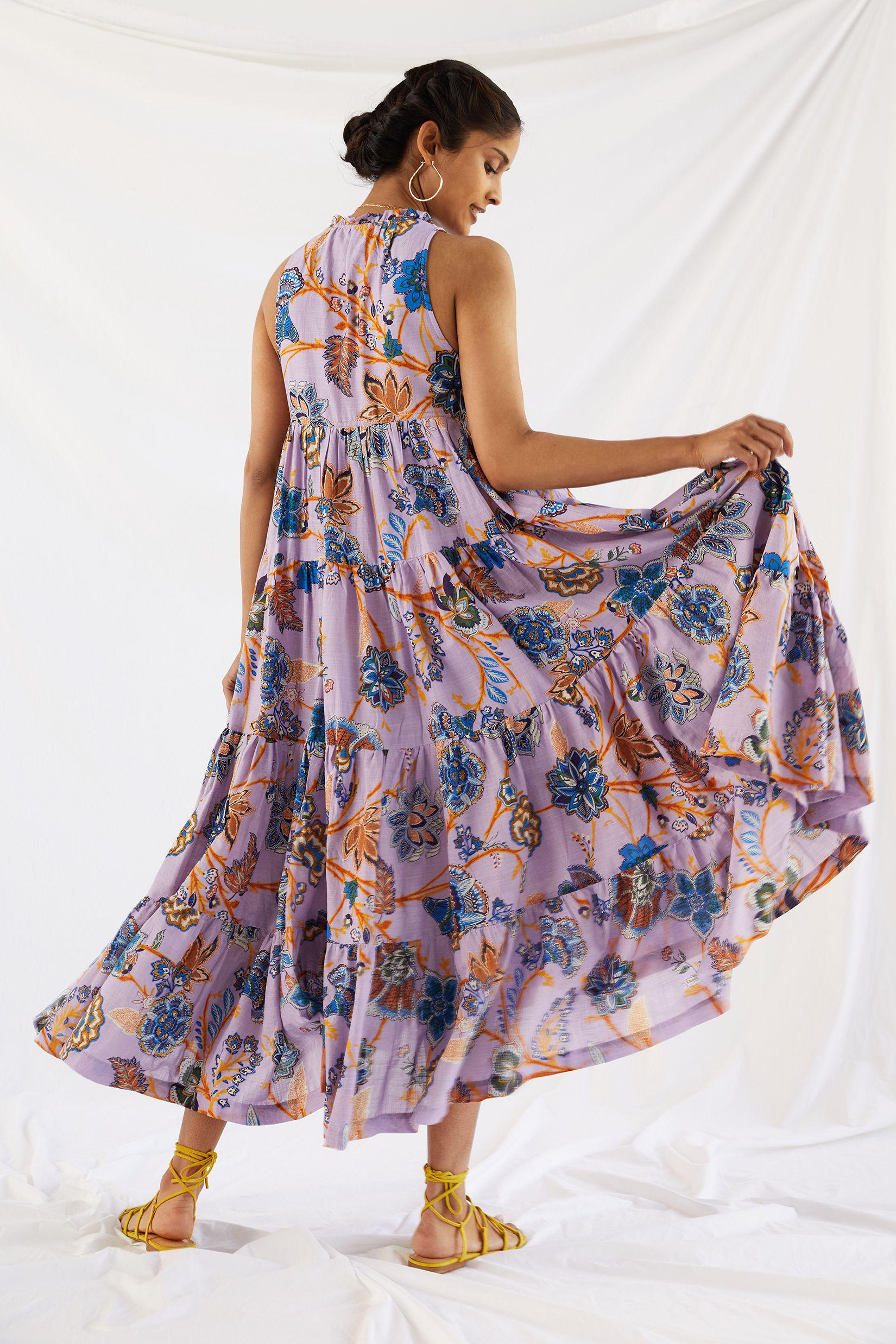 Tiered Abstract Maxi Dress 2
