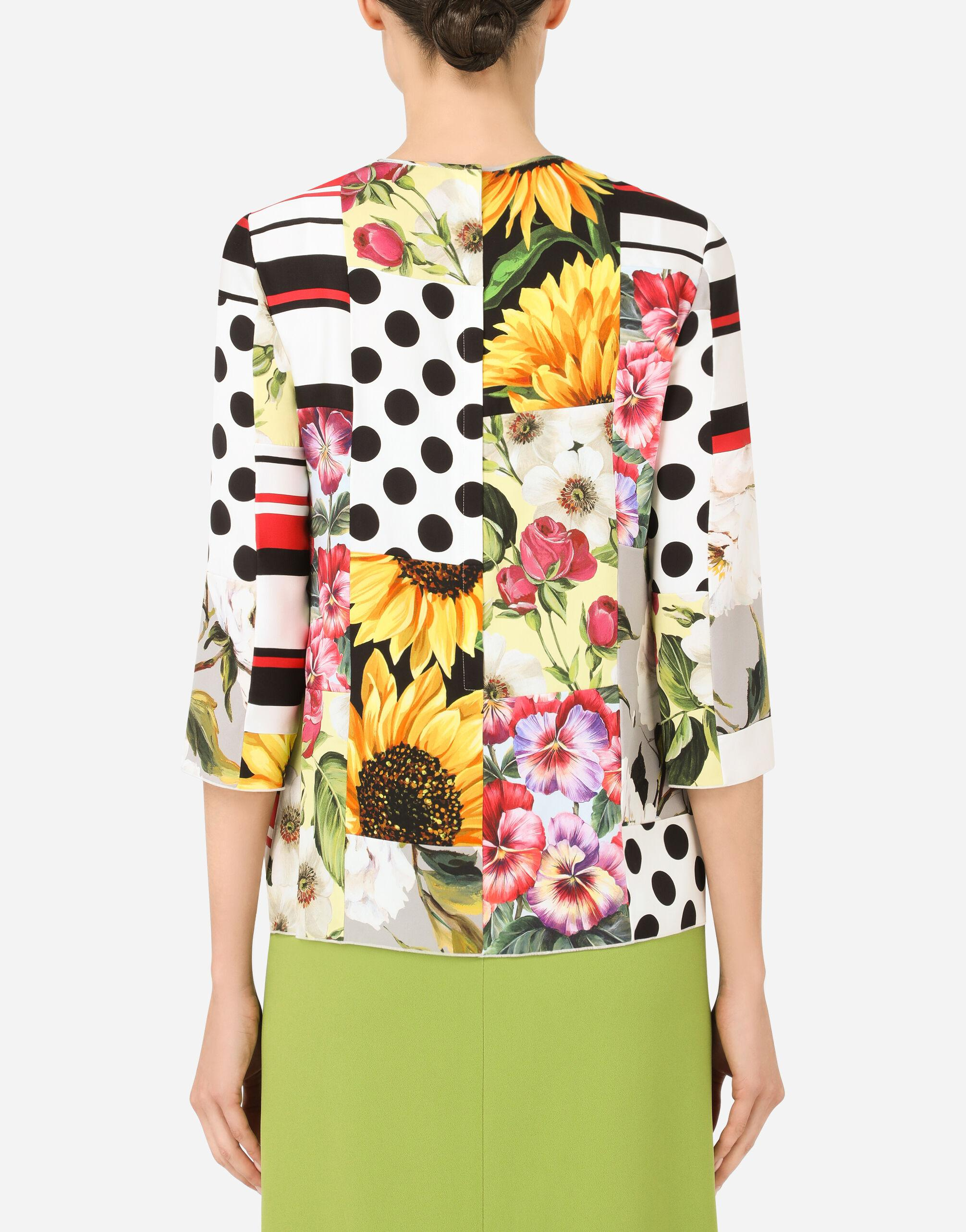 Patchwork charmeuse blouse 1