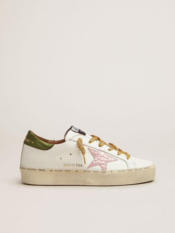 Hi Star sneakers with green laminated leather heel tab and pink crocodile-print leather star