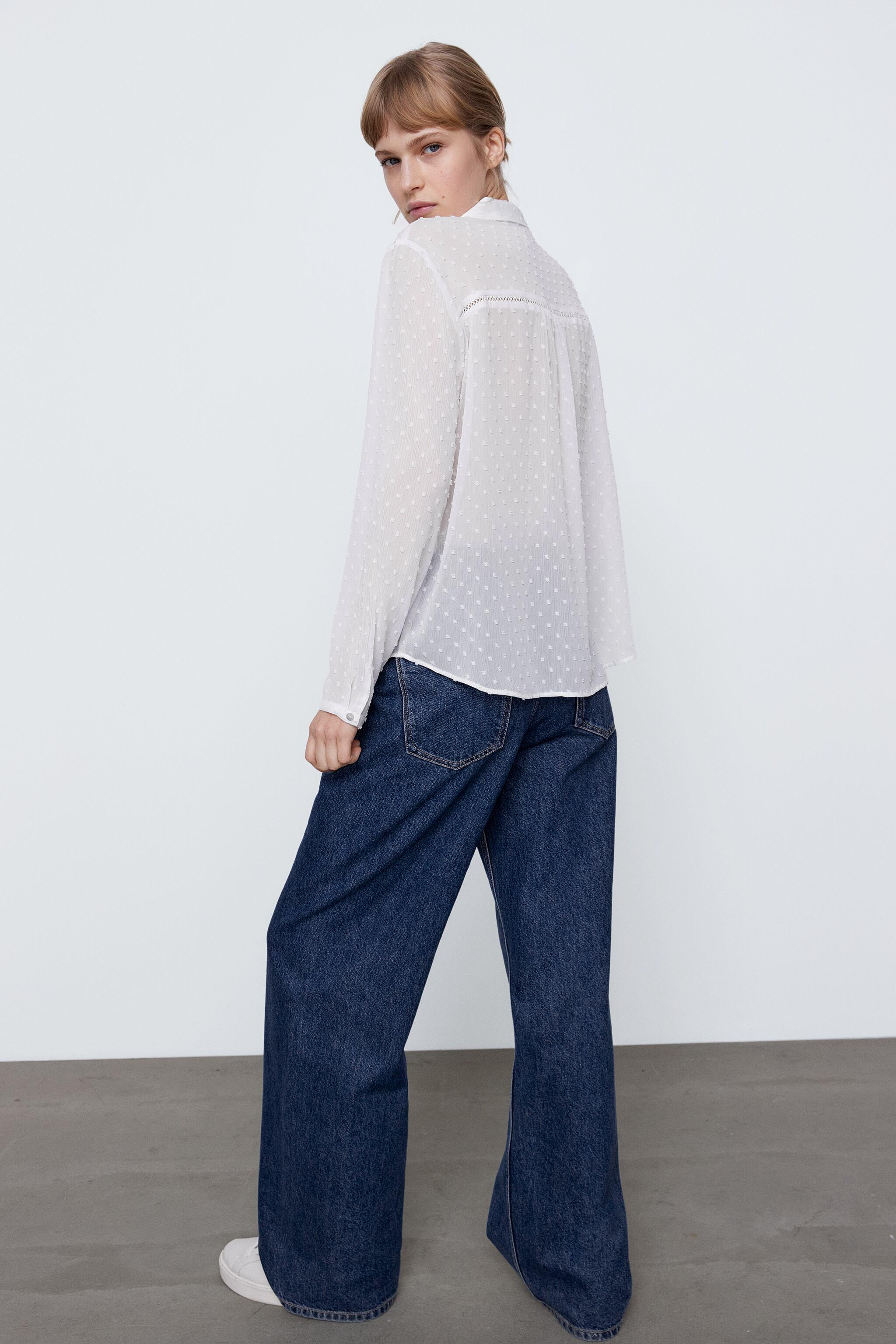 DOTTED MESH LACE INSERT SHIRT 3