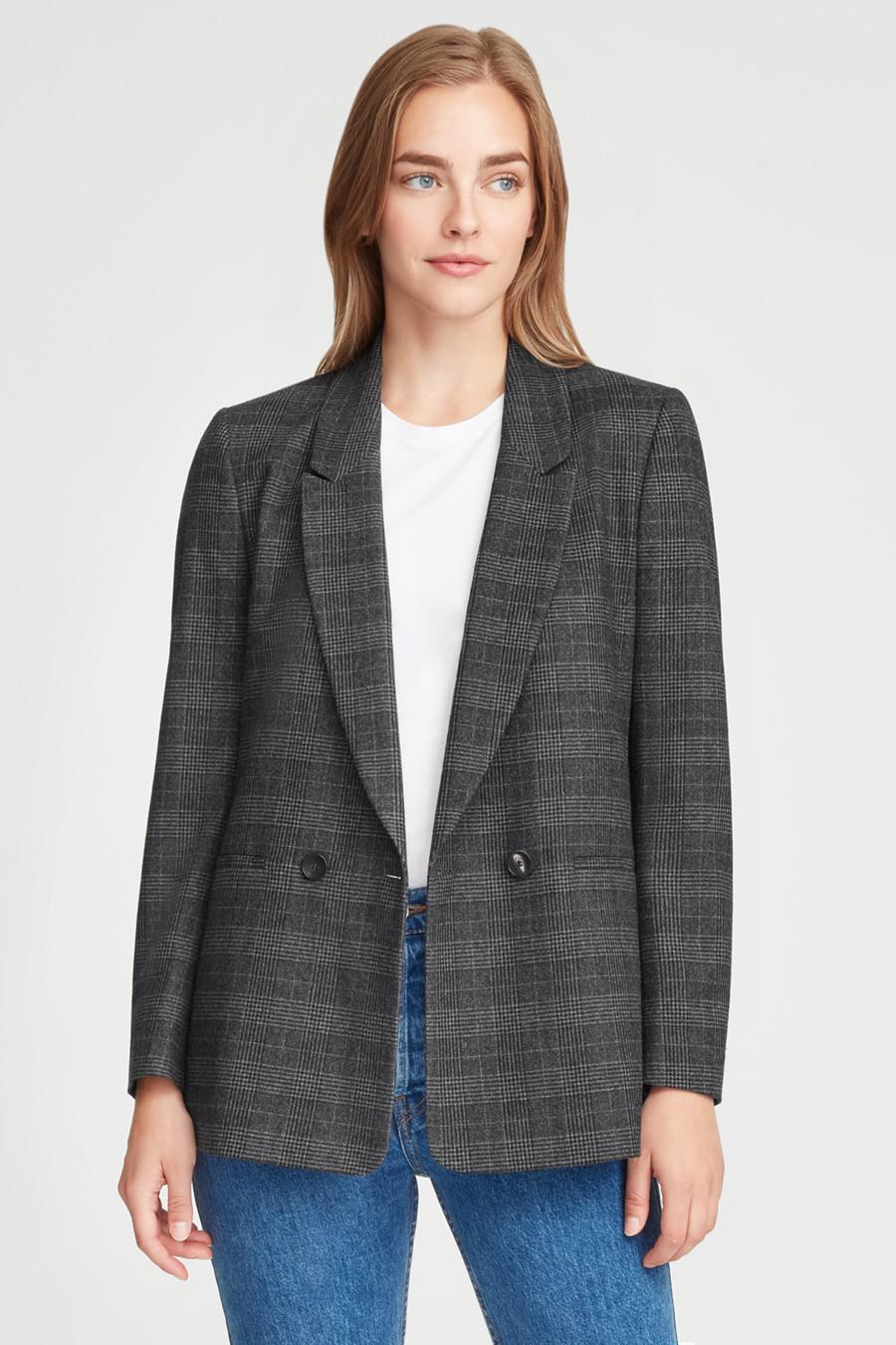 Women's Wool Double-Breasted Blazer in Grey Plaid   Size: 1
