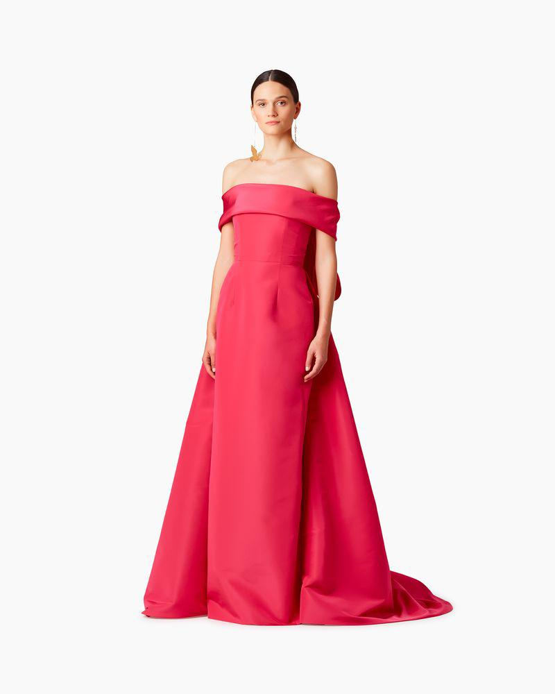Off Shoulder Silk Gown With Back Tie