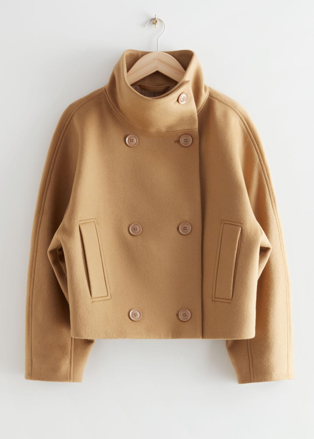 Double Breasted Cropped Boxy Jacket