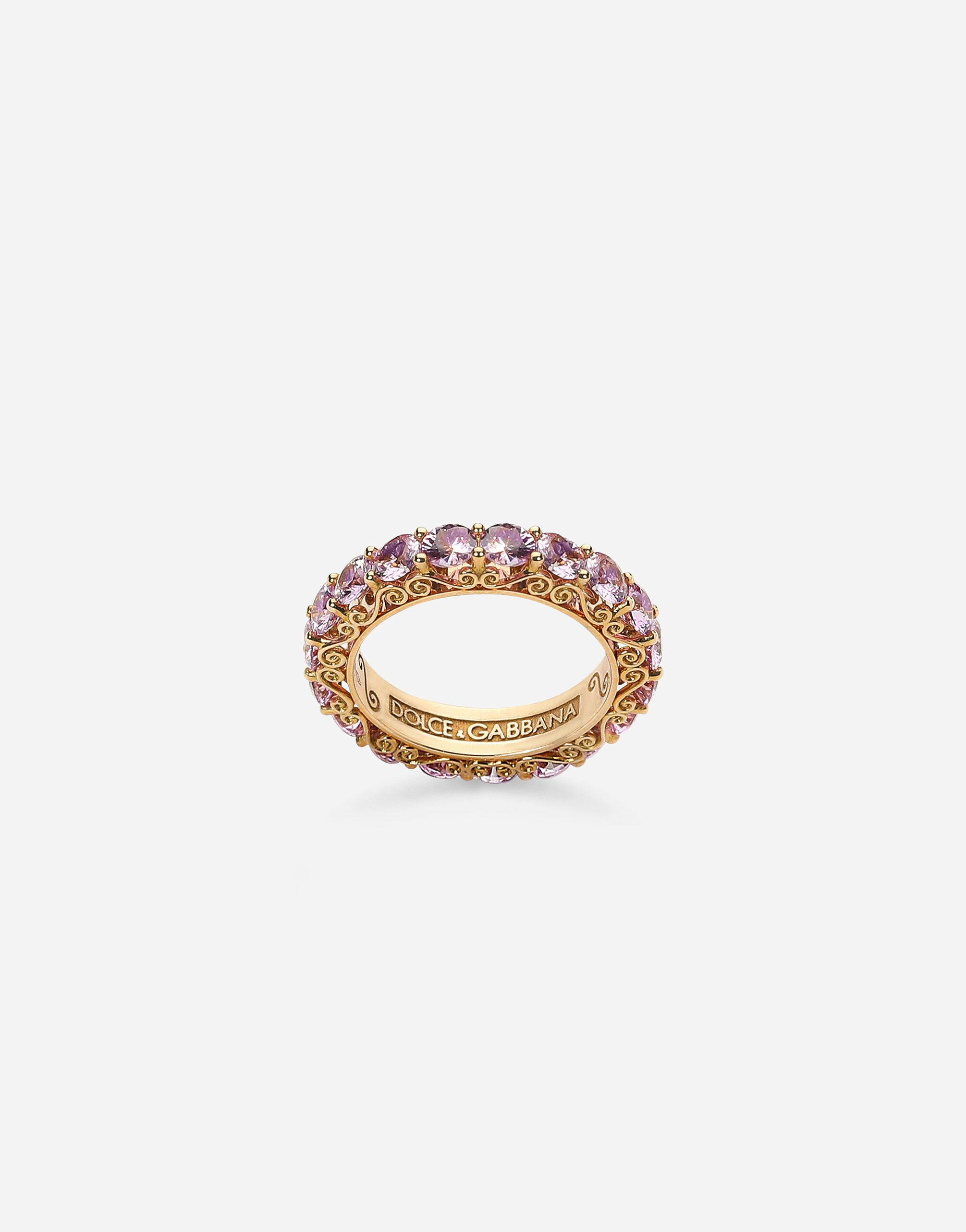 Heritage band ring in yellow 18kt gold with pink sapphires
