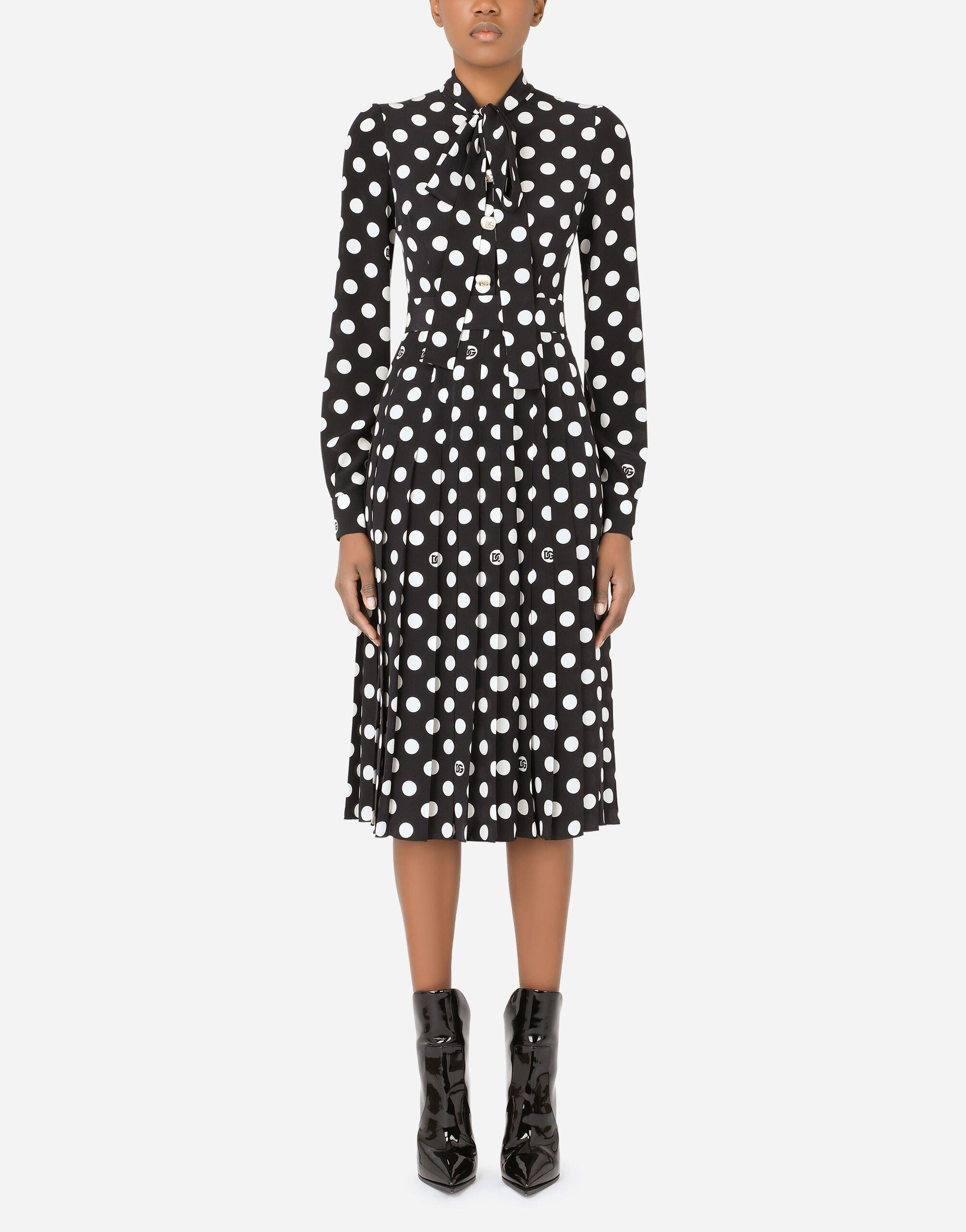 Crepe de chine midi dress with polka-dot print with pleated skirt and pearl DG embellishment