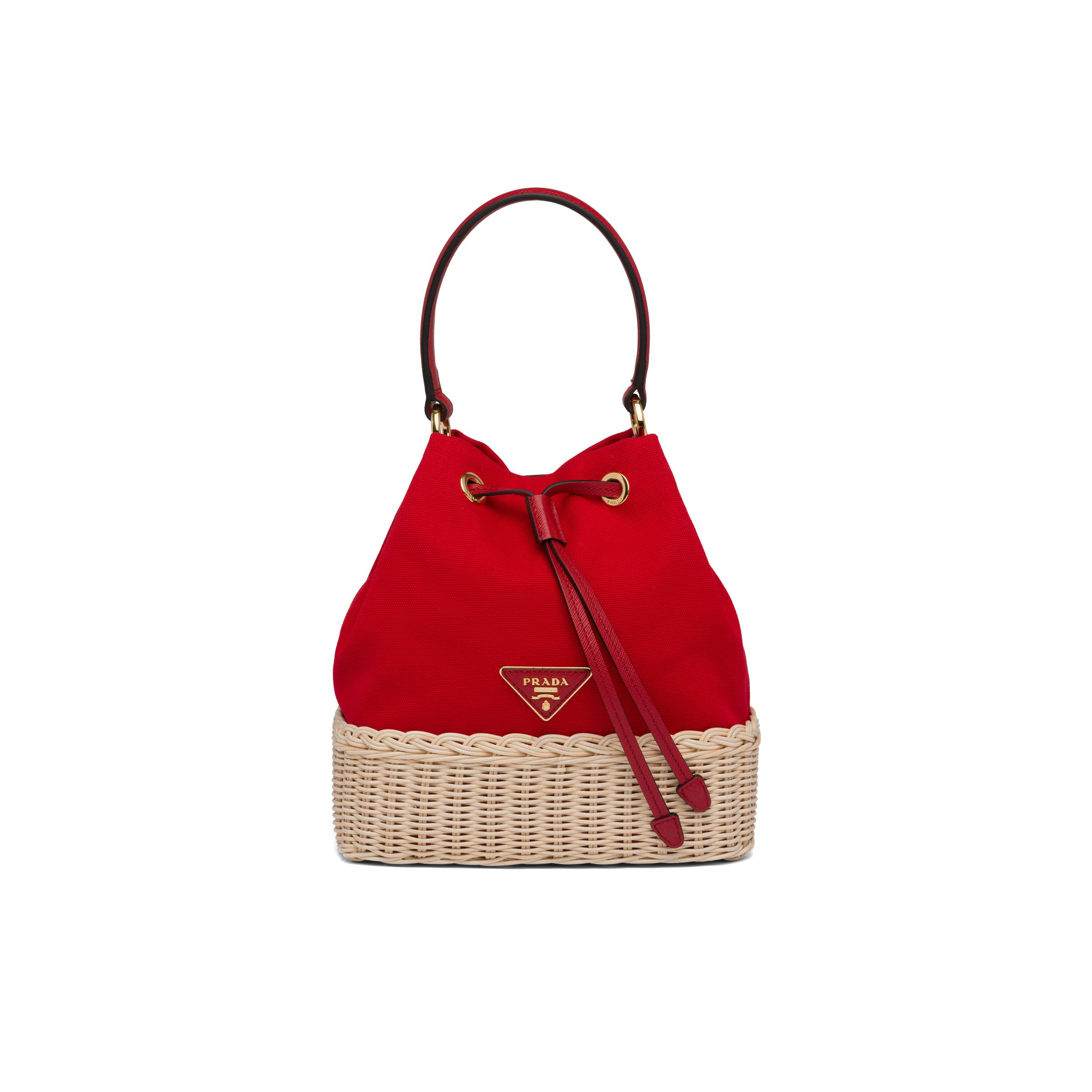 Wicker And Canvas Bucket Bag Women Tan/red 0