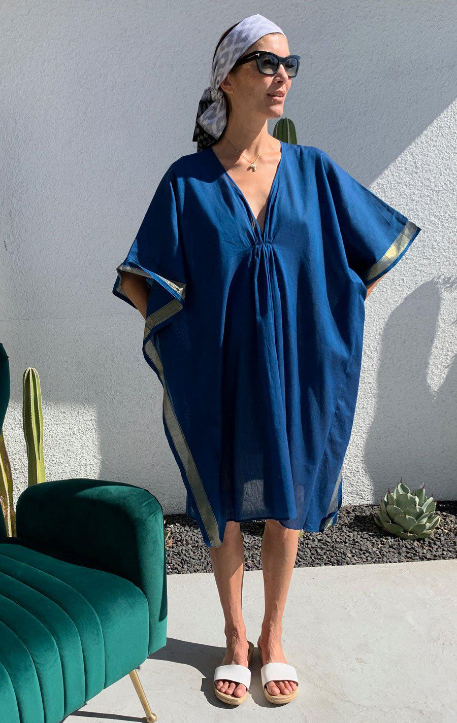 Teal caftan with sheen-last one