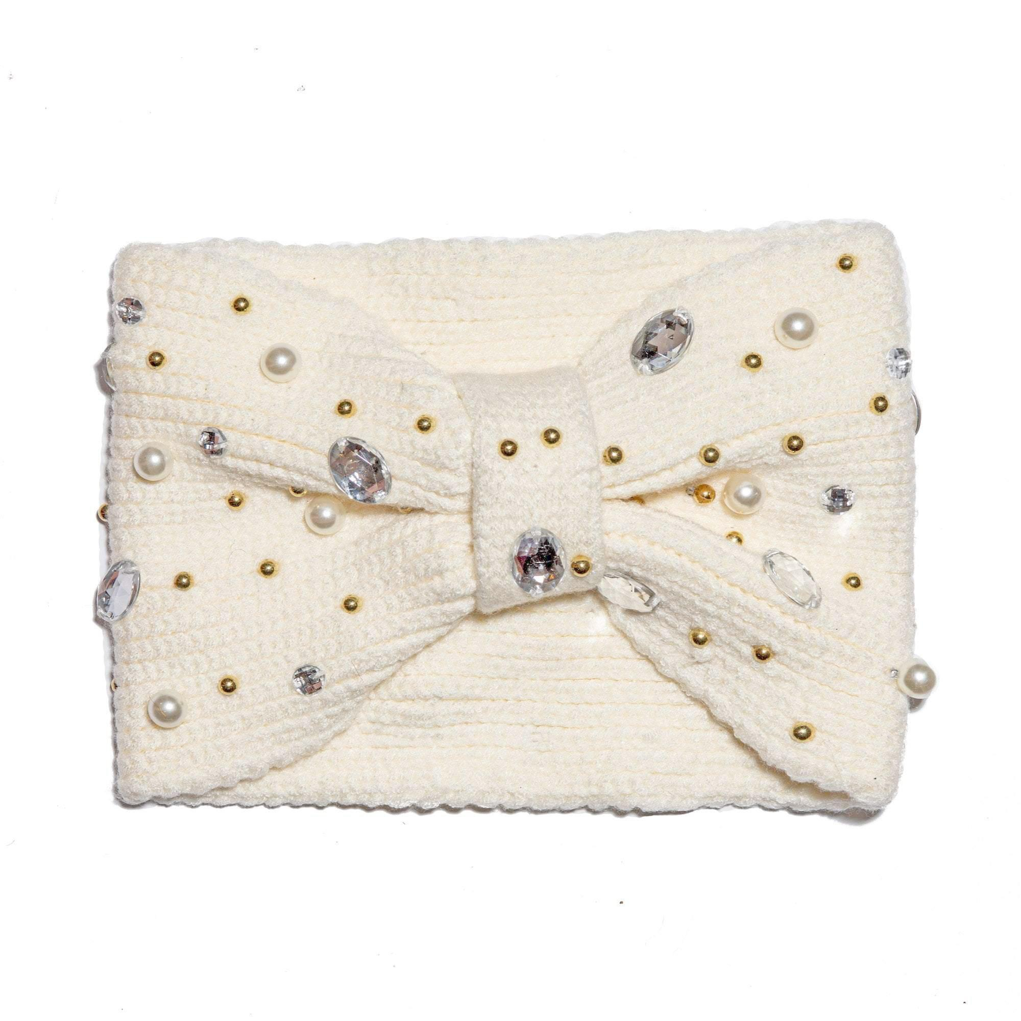 IVORY PEARL AND CRYSTAL KNOTTED EAR WARMER