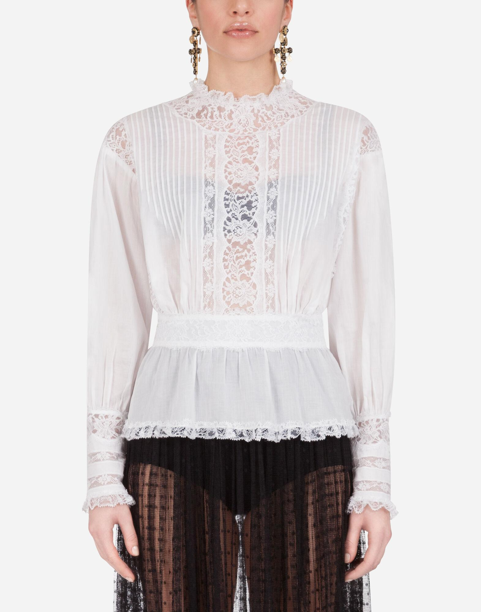 Muslin and lace blouse