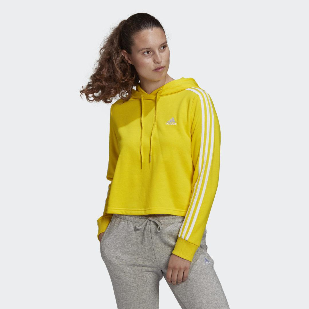 Essentials 3-Stripes Cropped Hoodie Yellow