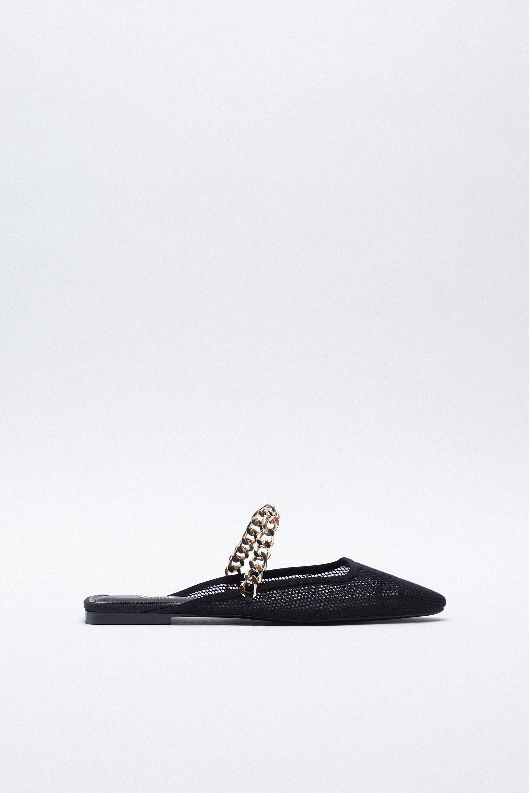 MESH SLIDE SHOES WITH CHAIN