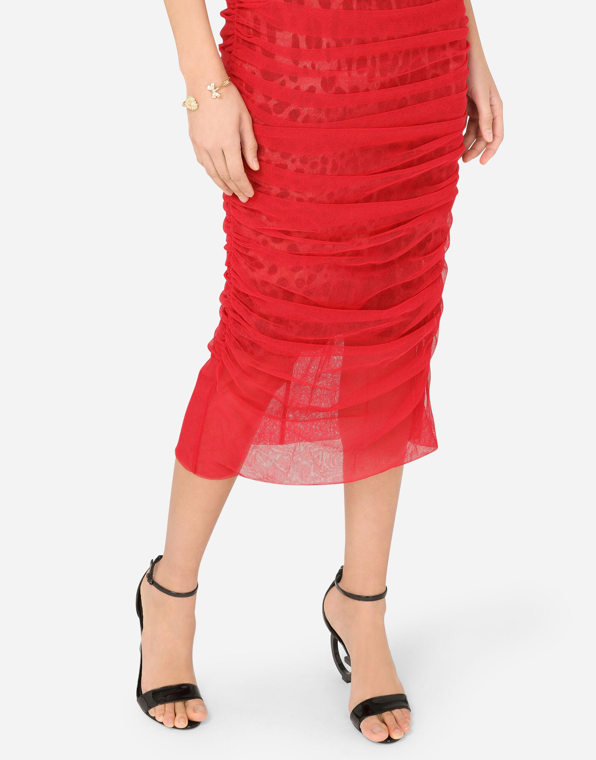 Calf-length draped dress in cotton tulle 3