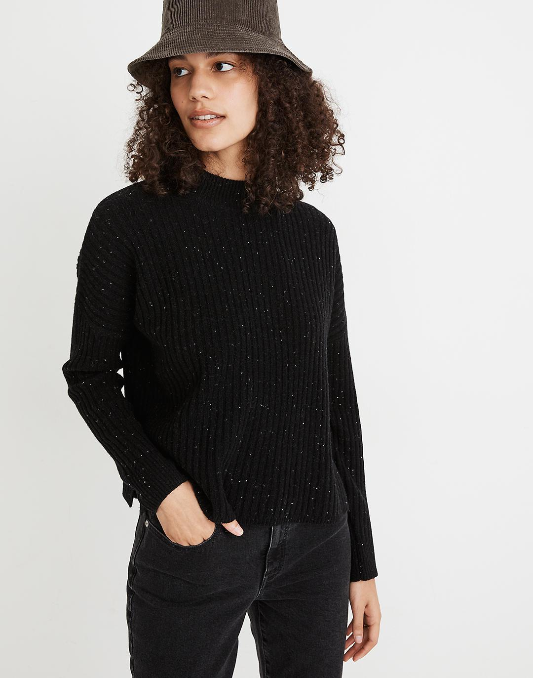 Donegal (Re)sourced Cashmere Ribbed Mockneck Pullover Sweater
