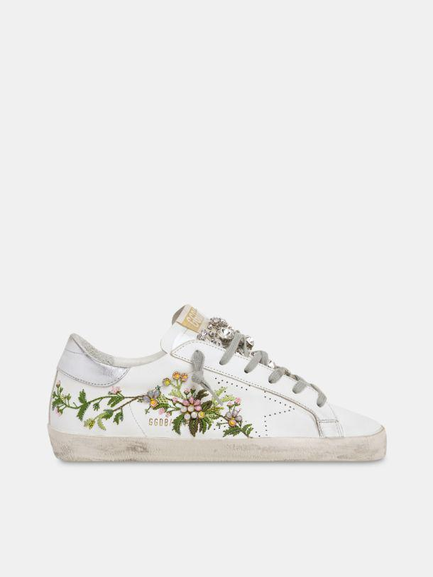 Limited Edition Super-Star in leather with floral embroidery and crystal tongue