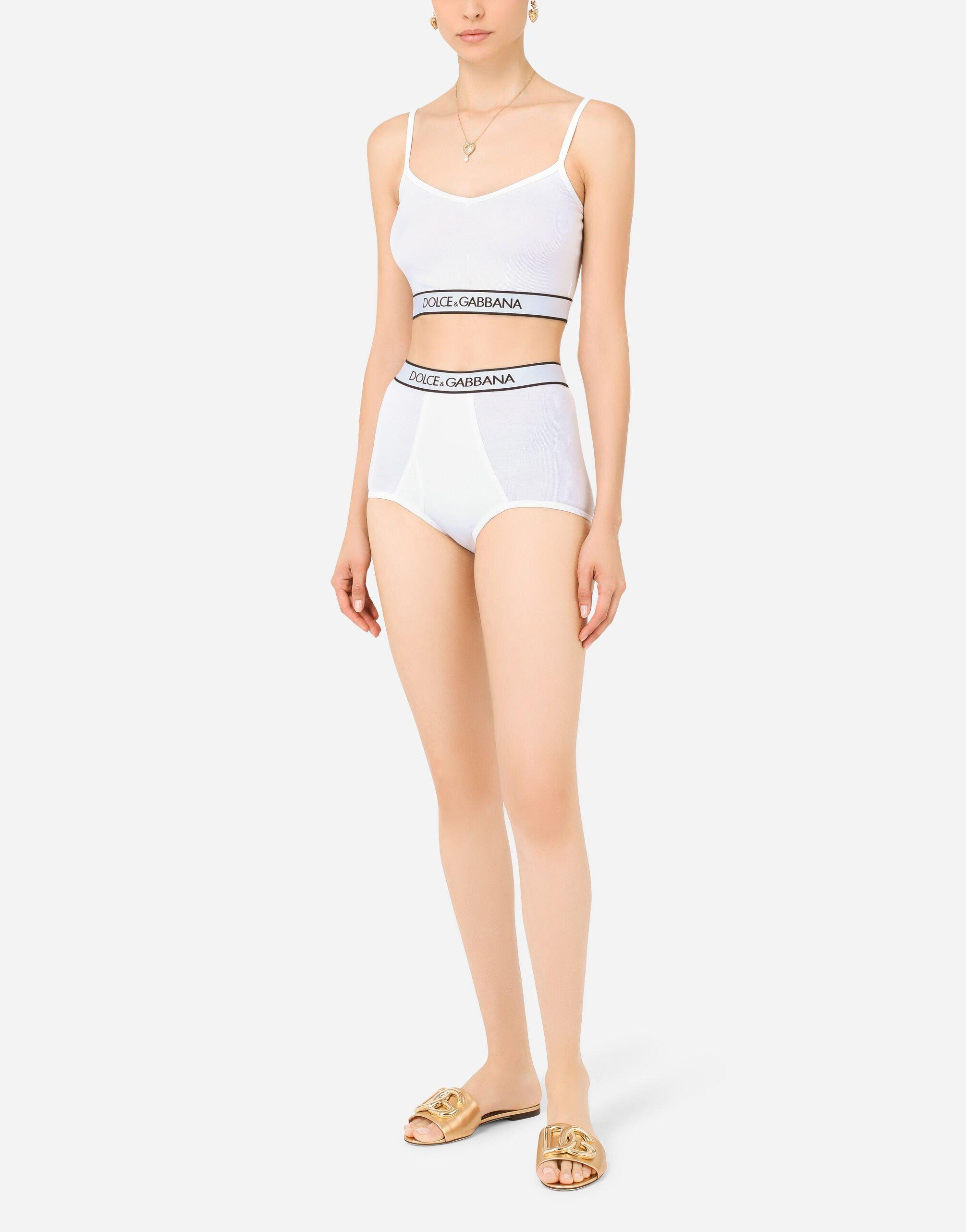 Fine-rib jersey top with spaghetti straps and branded elastic
