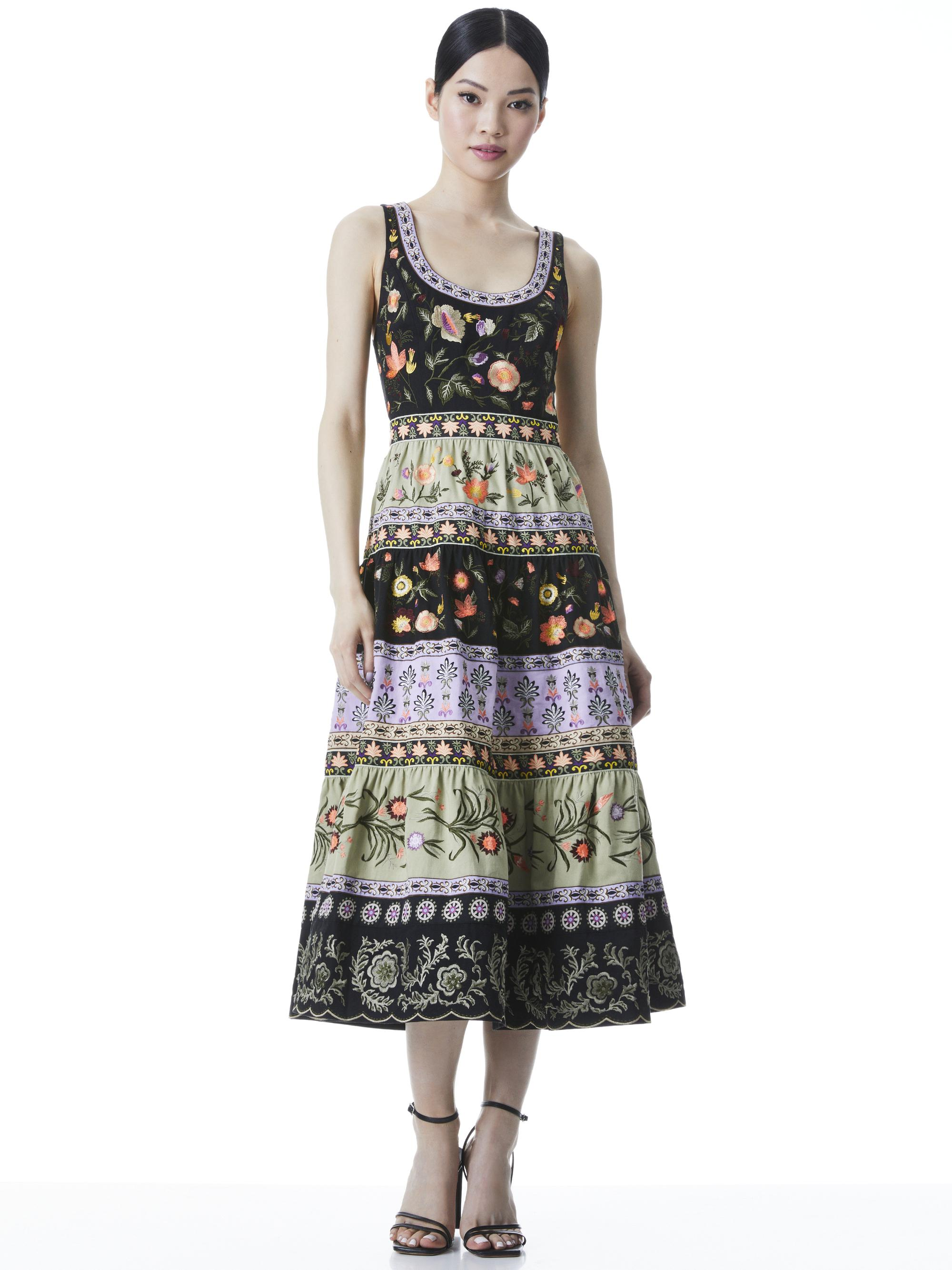 ARYA EMBROIDERED MIDI GOWN DRESS