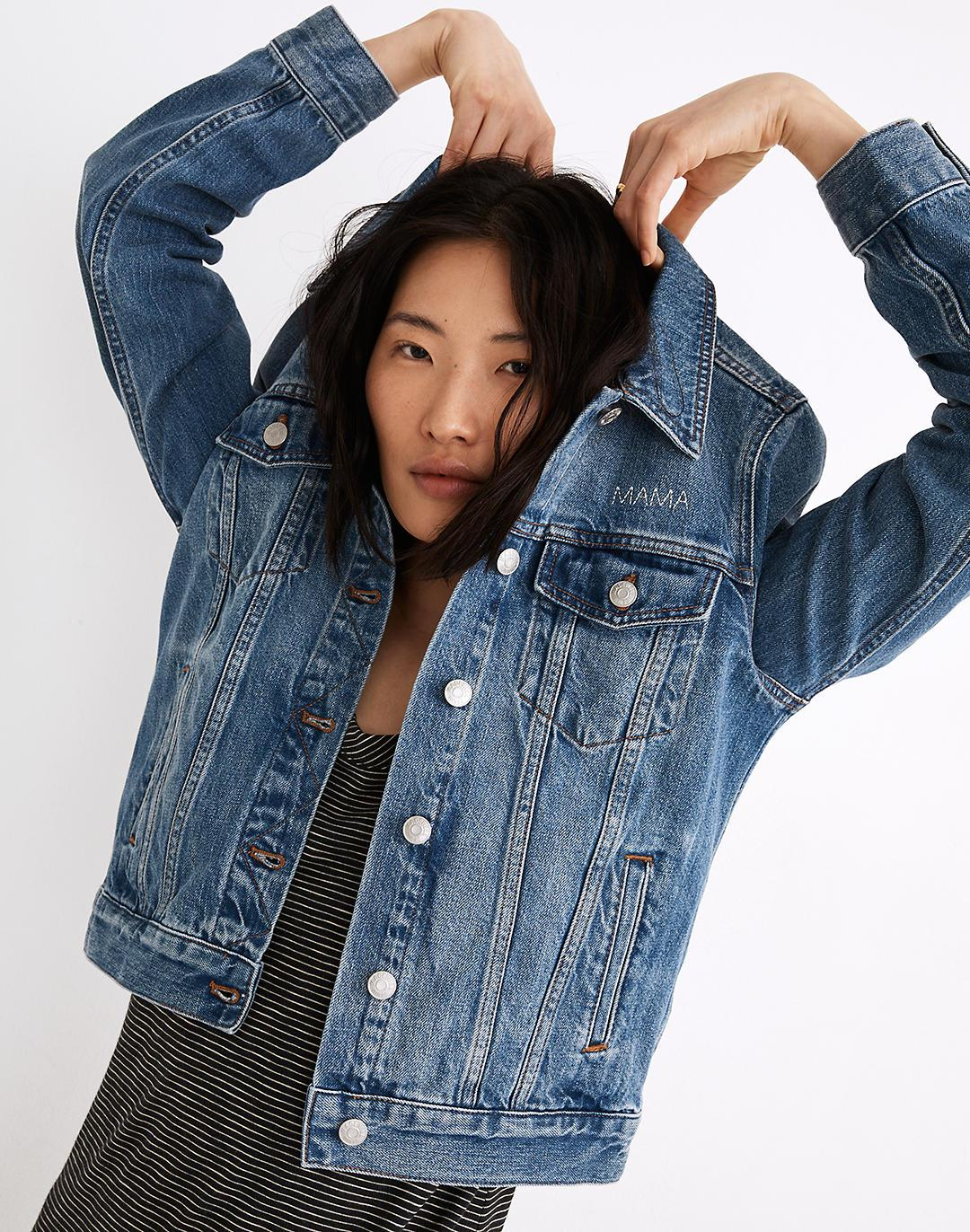 Mama Embroidered Jean Jacket in Medford Wash