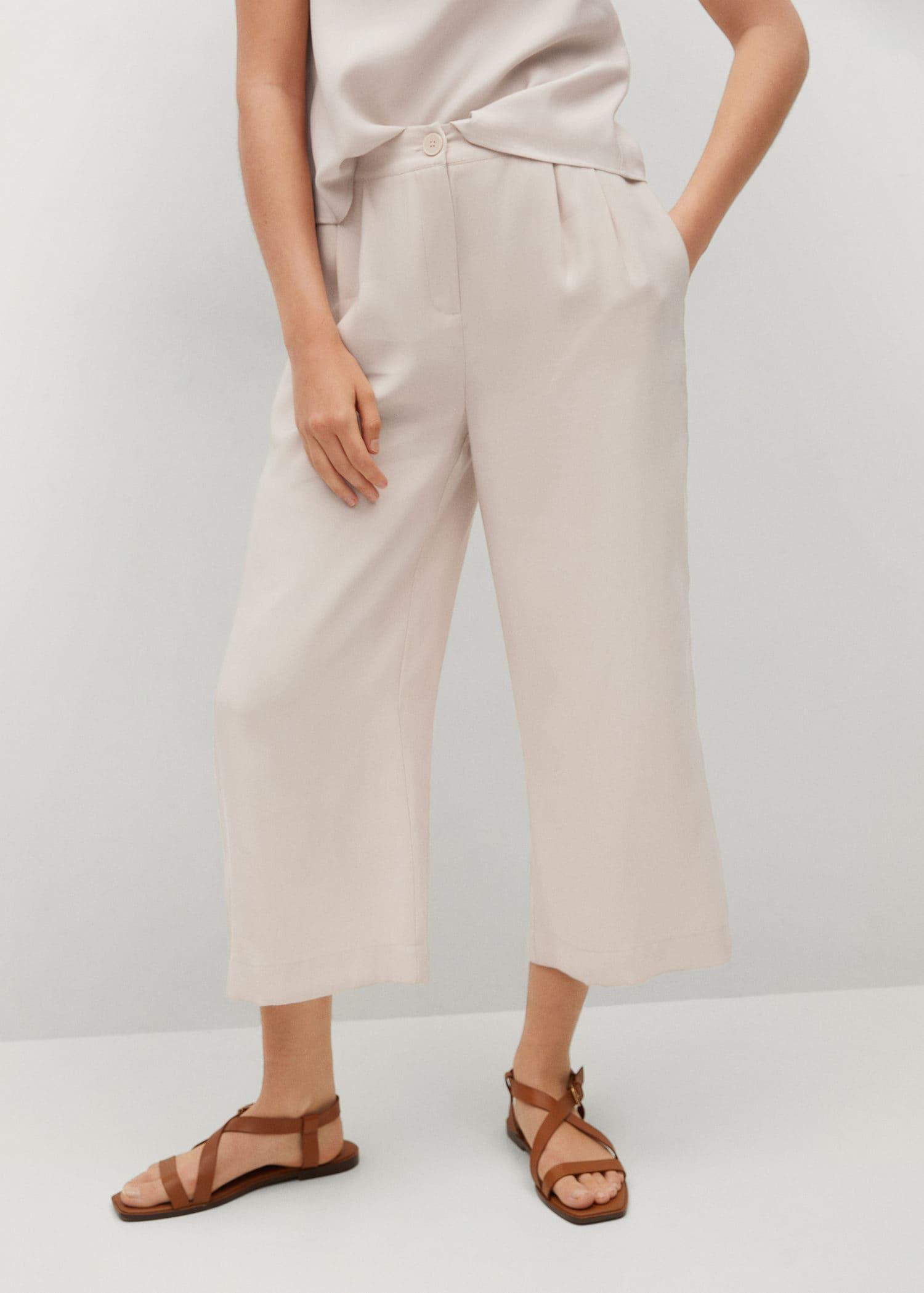 Pleated culottes pants