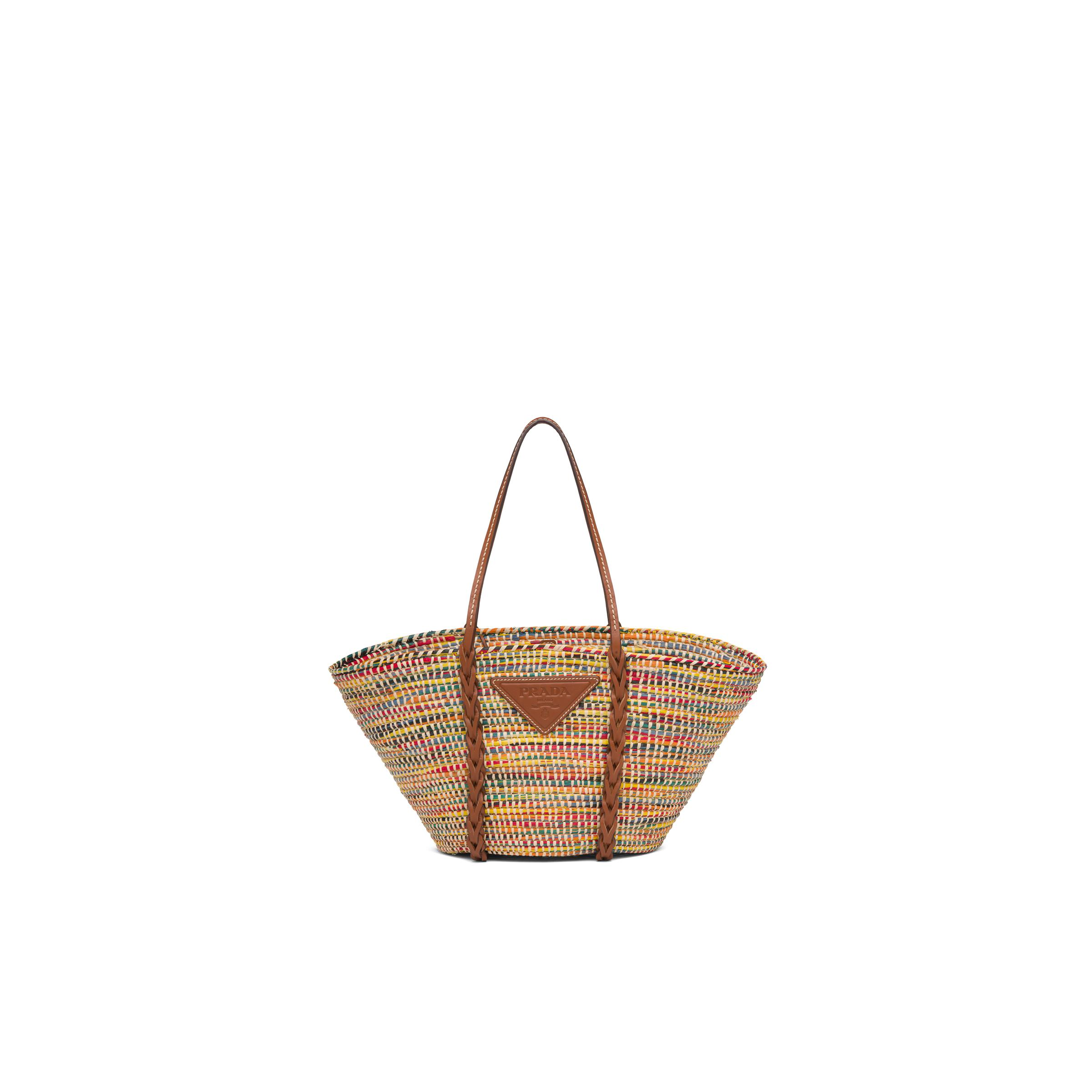 Straw And Leather Tote Bag Women Multicolored/cognac