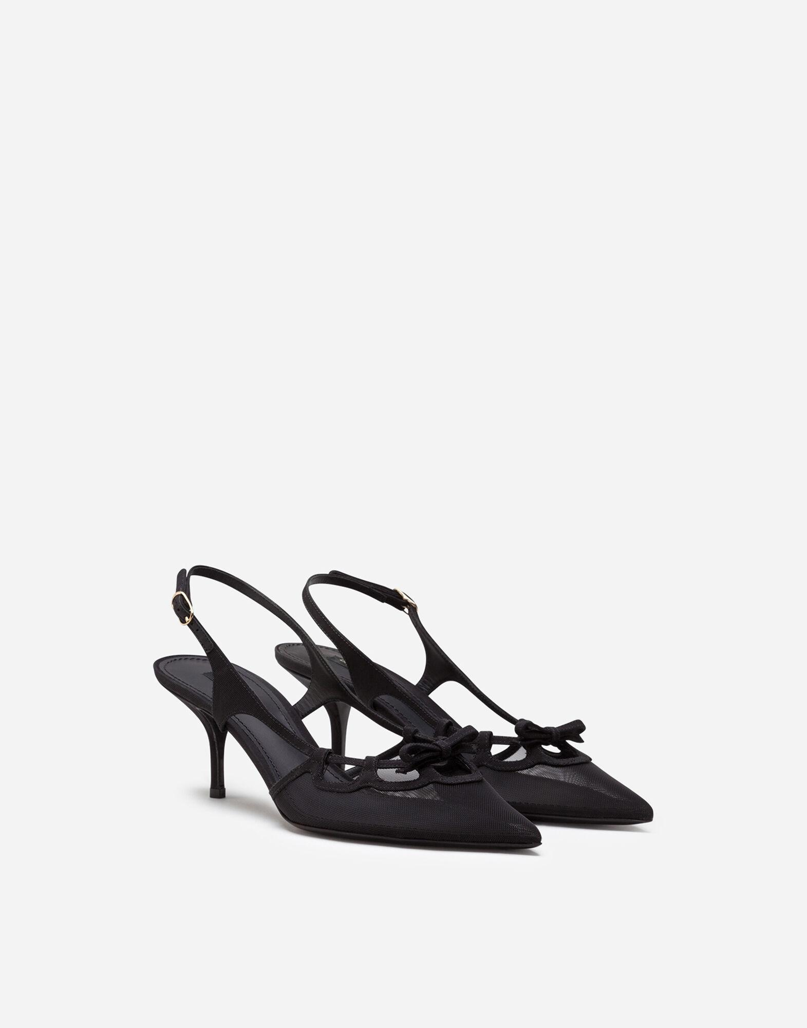 Slingback shoes in mesh and grosgrain 1