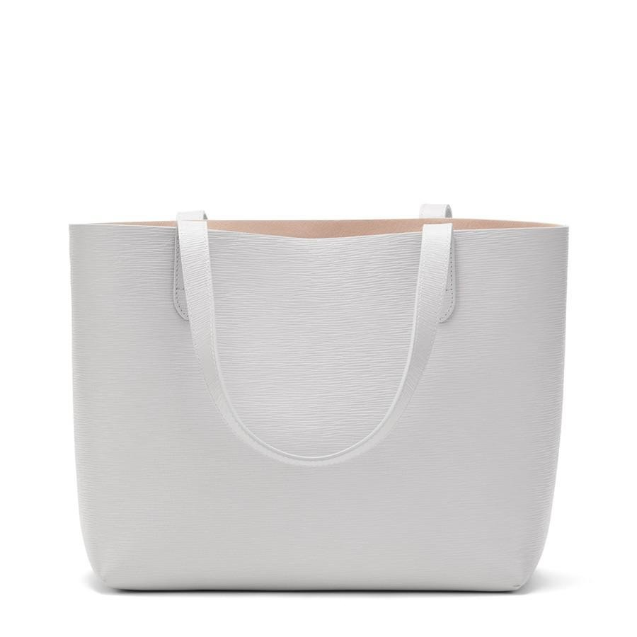 Women's Small Structured Leather Tote Bag in Perla/Blush Pink | Textured Leather by Cuyana