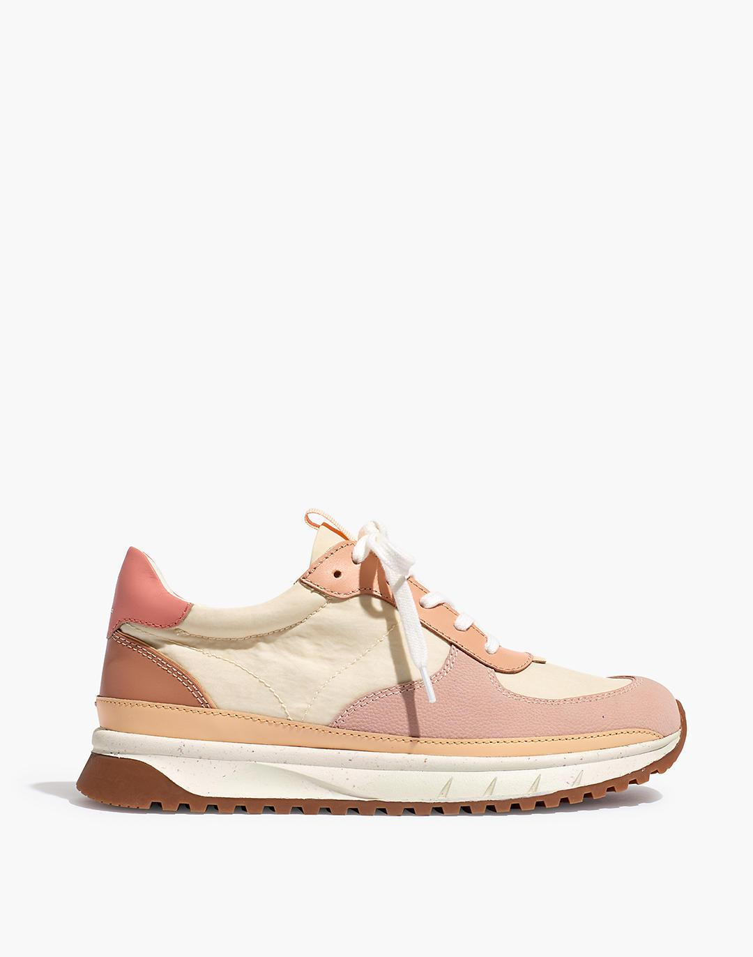 Kickoff Trainer Sneakers in Washed Nylon and Leather 1