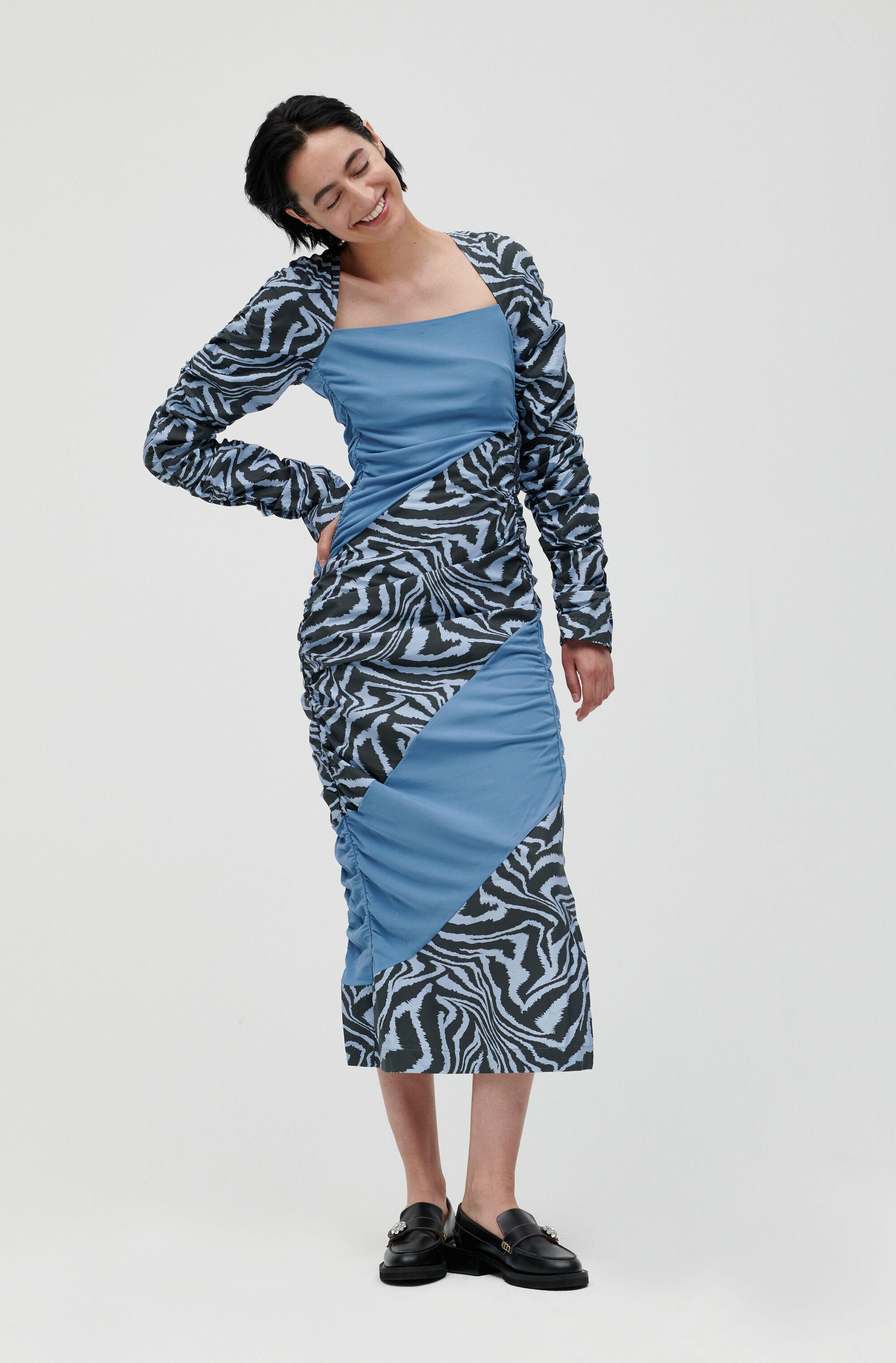 Ruched Patchwork Midi Dress