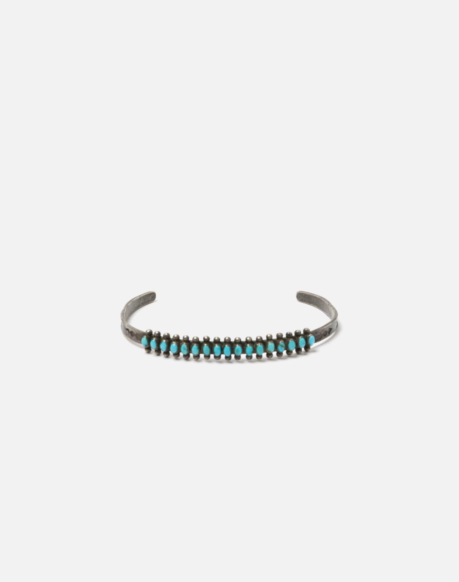 1940s Sterling Silver And Oval Turquoise Zuni Snake Eyes Bracelet - #89