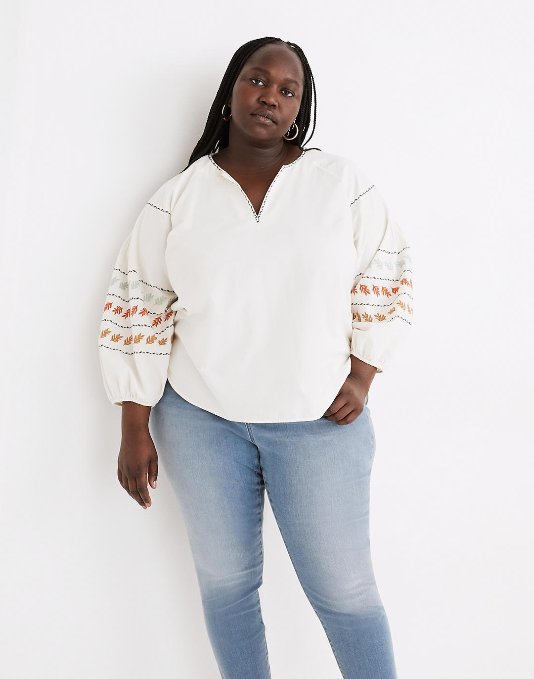 Plus Embroidered-Sleeve Popover Top