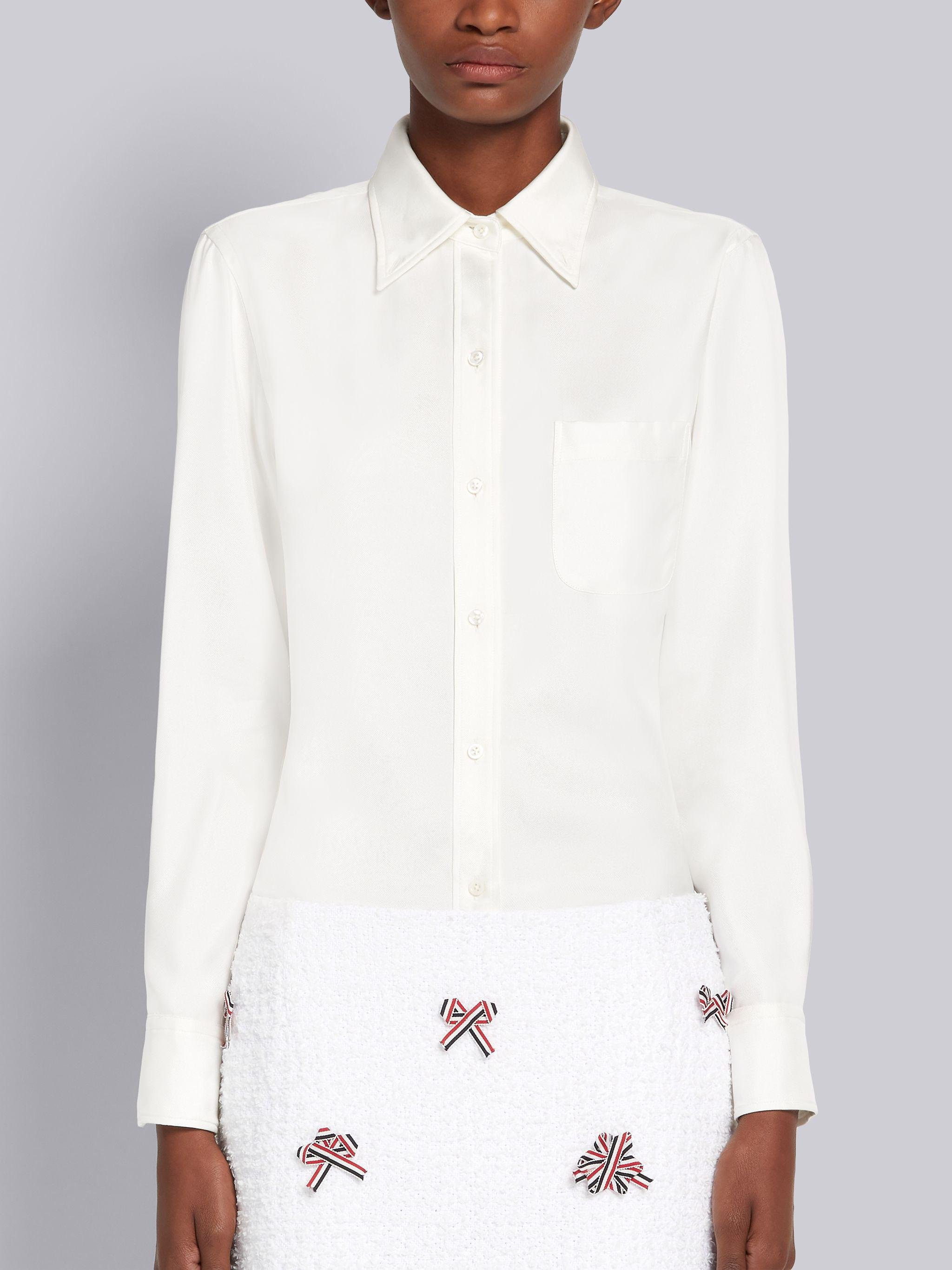 White Silk Twill Engineered Center Back Stripe Classic Long Sleeve Button Down Shirt